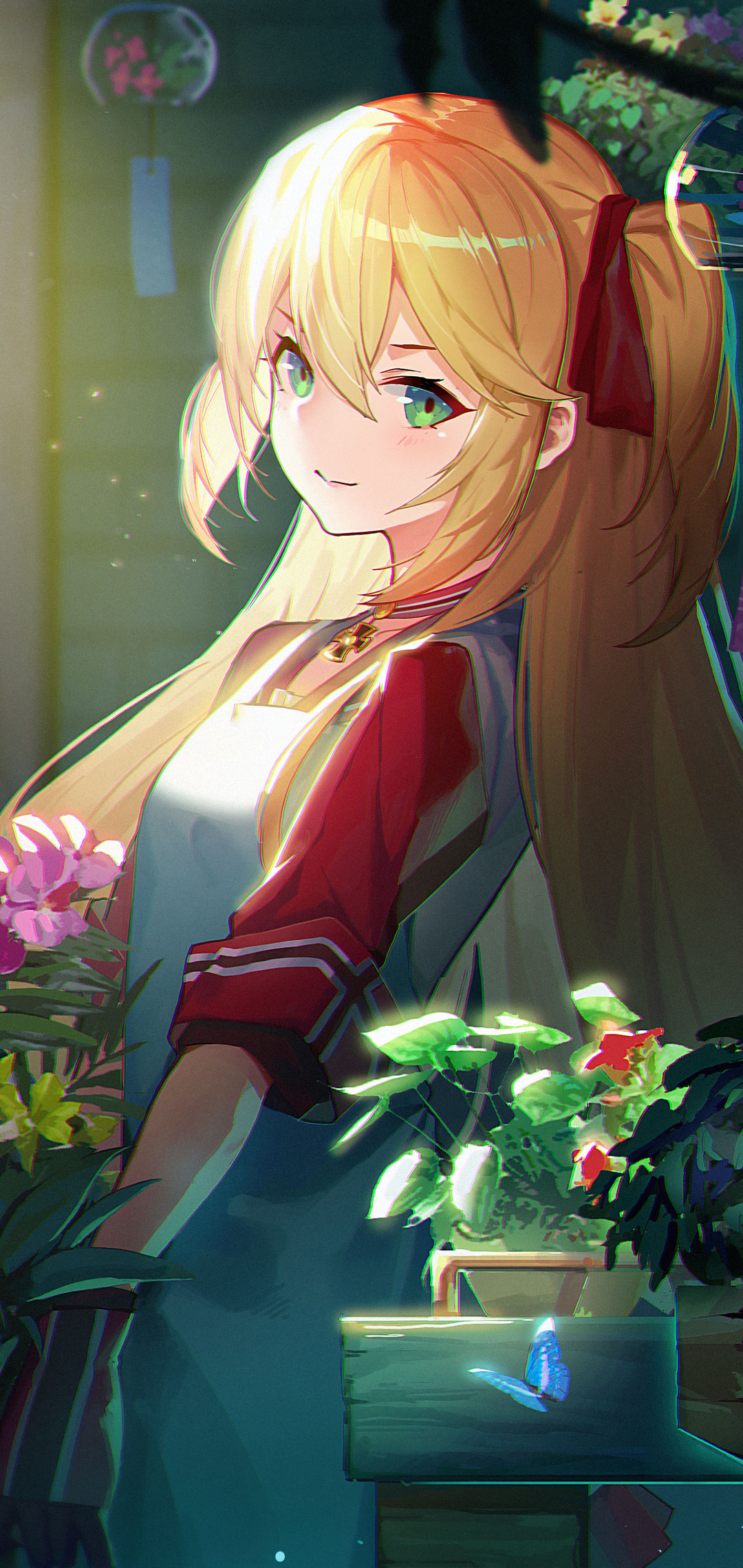 1080x2280 Anime Flowers Blonde Twintails Girl One Plus 6 Huawei P20