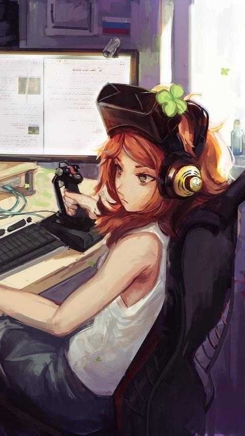 Anime girl gamer wallpaper