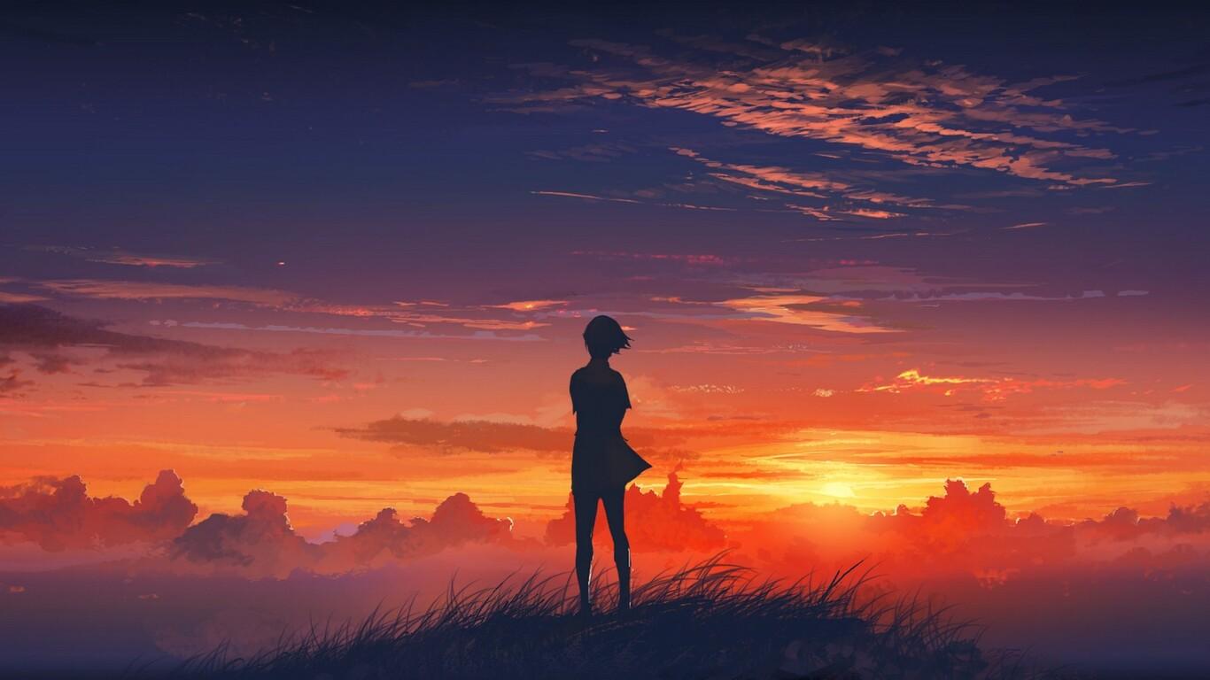 1366x768 Anime Girl Artistic Sunset 1366x768 Resolution Hd
