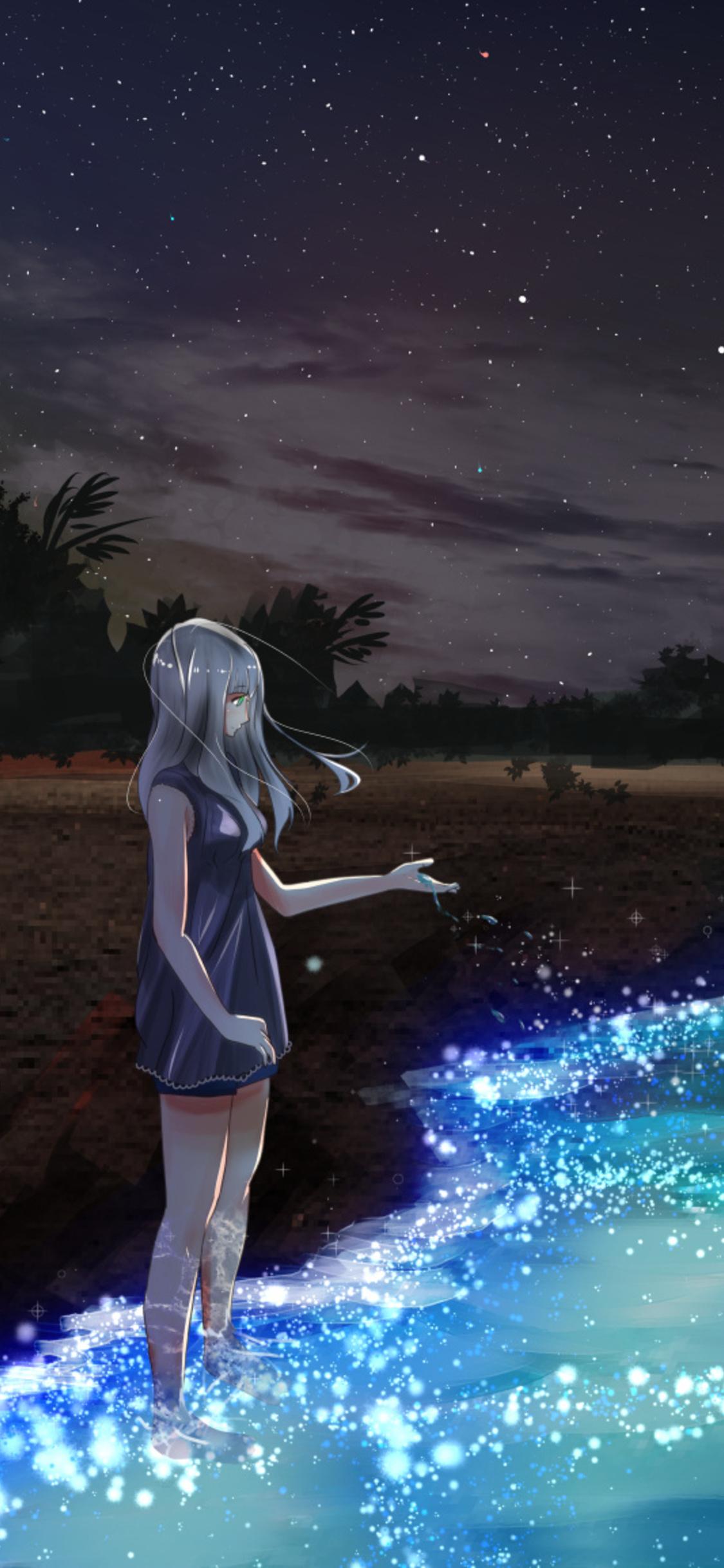 1125x2436 Anime Girl At Seashore Dark Moon Iphone Xs Iphone 10