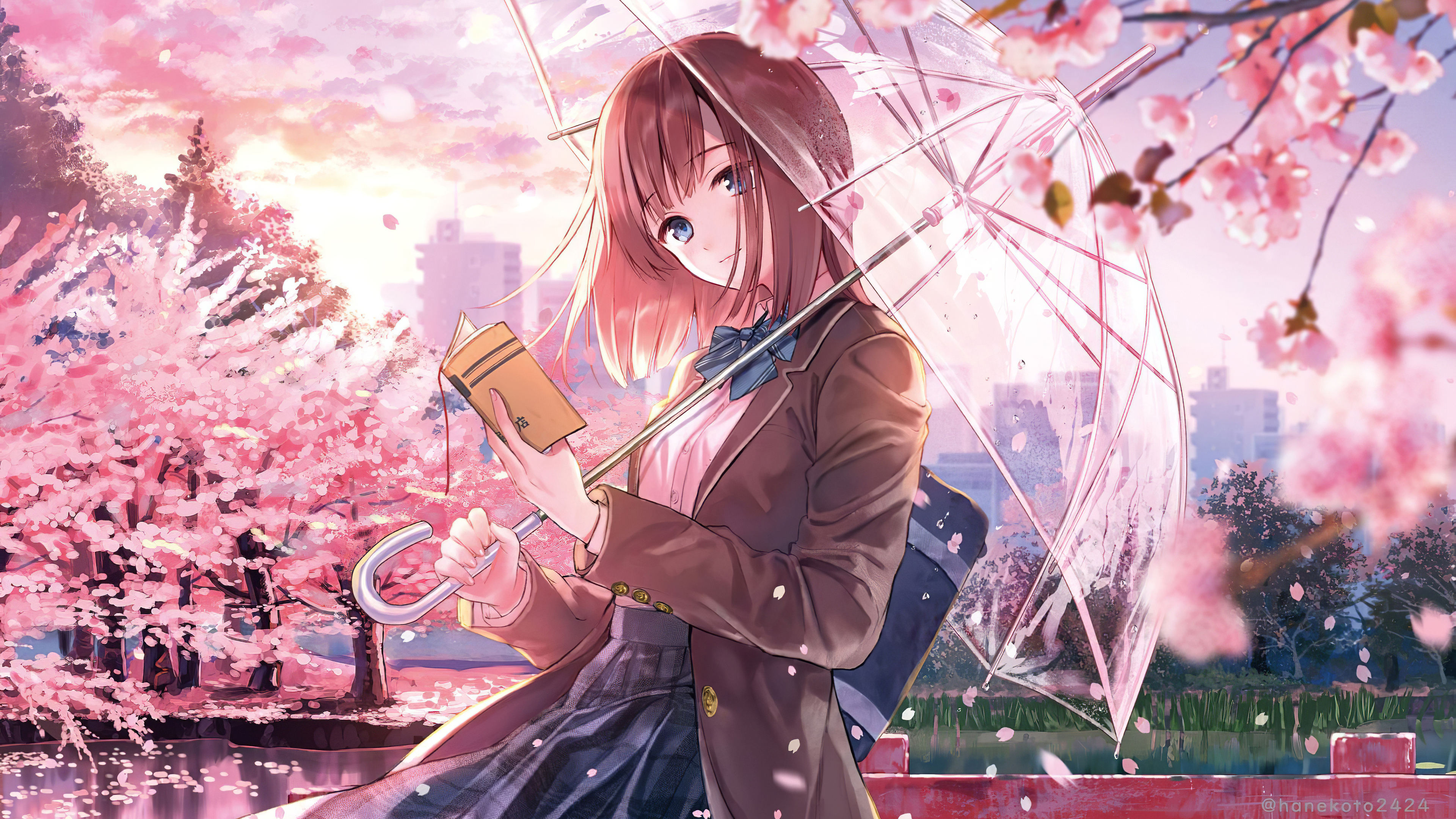 3840x2160 Anime Girl Cherry Blossom Season 5k 4k HD 4k ...