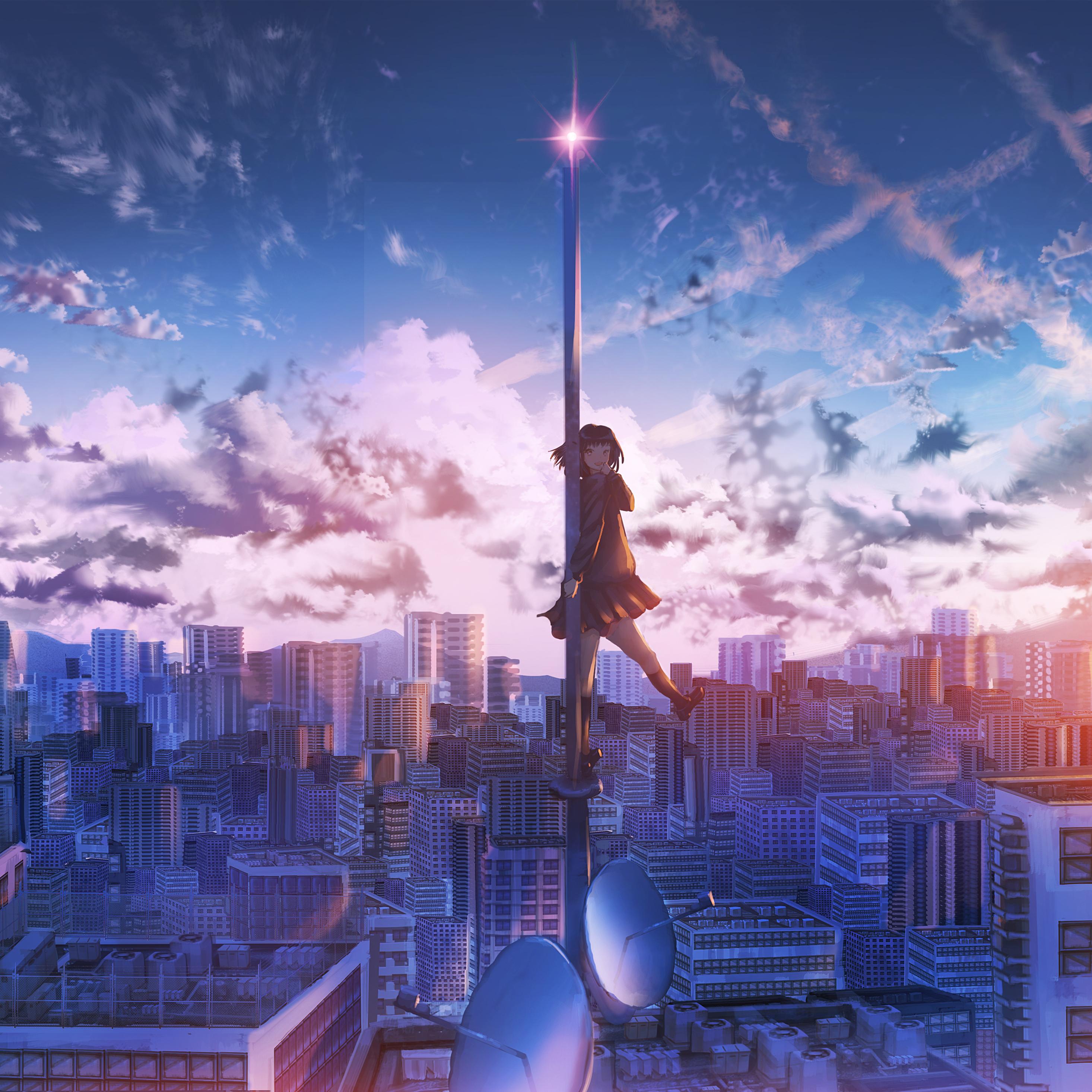 2932x2932 Anime Girl City Building Height 4k Ipad Pro Retina