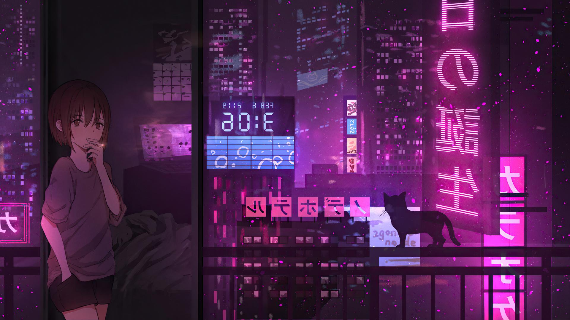 1920x1080 Anime Girl City Night Neon Cyberpunk 4k Laptop ...
