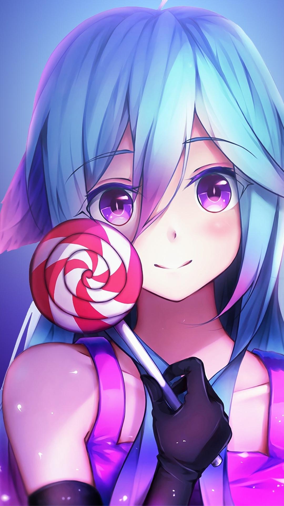 1080x1920 Anime Girl Cute Rainbows And Lolipop Iphone 7,6s ...