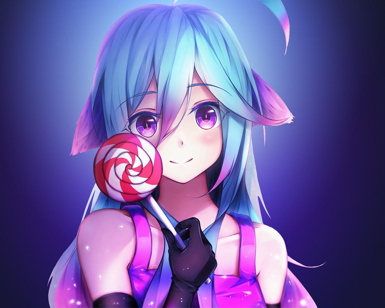 1280x1024 anime girl cute rainbows and lolipop 1280x1024