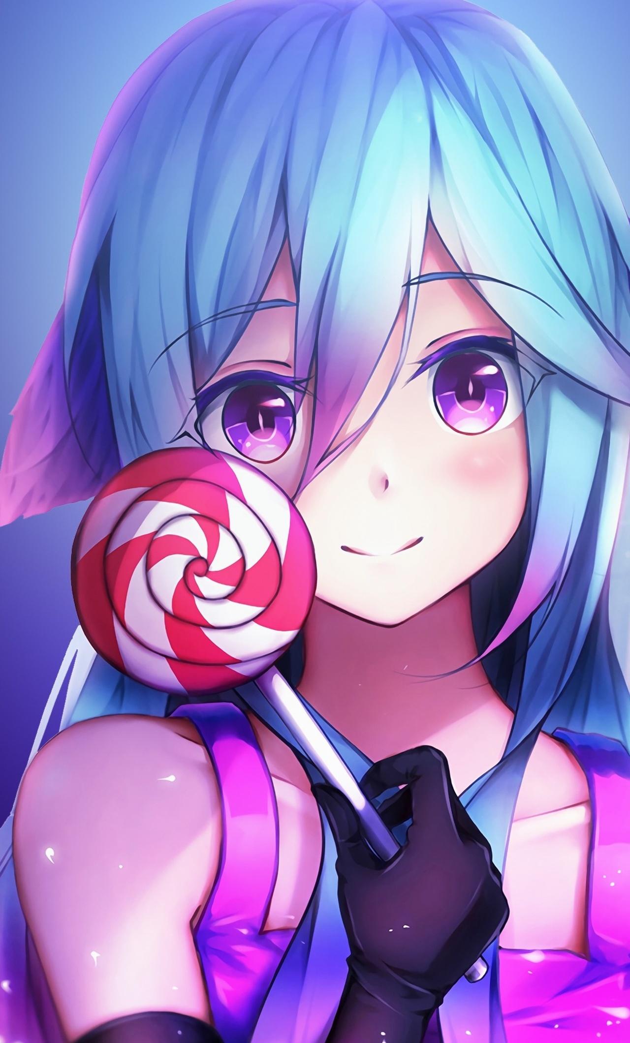 1280x2120 Anime Girl Cute Rainbows And Lolipop iPhone 6 ...
