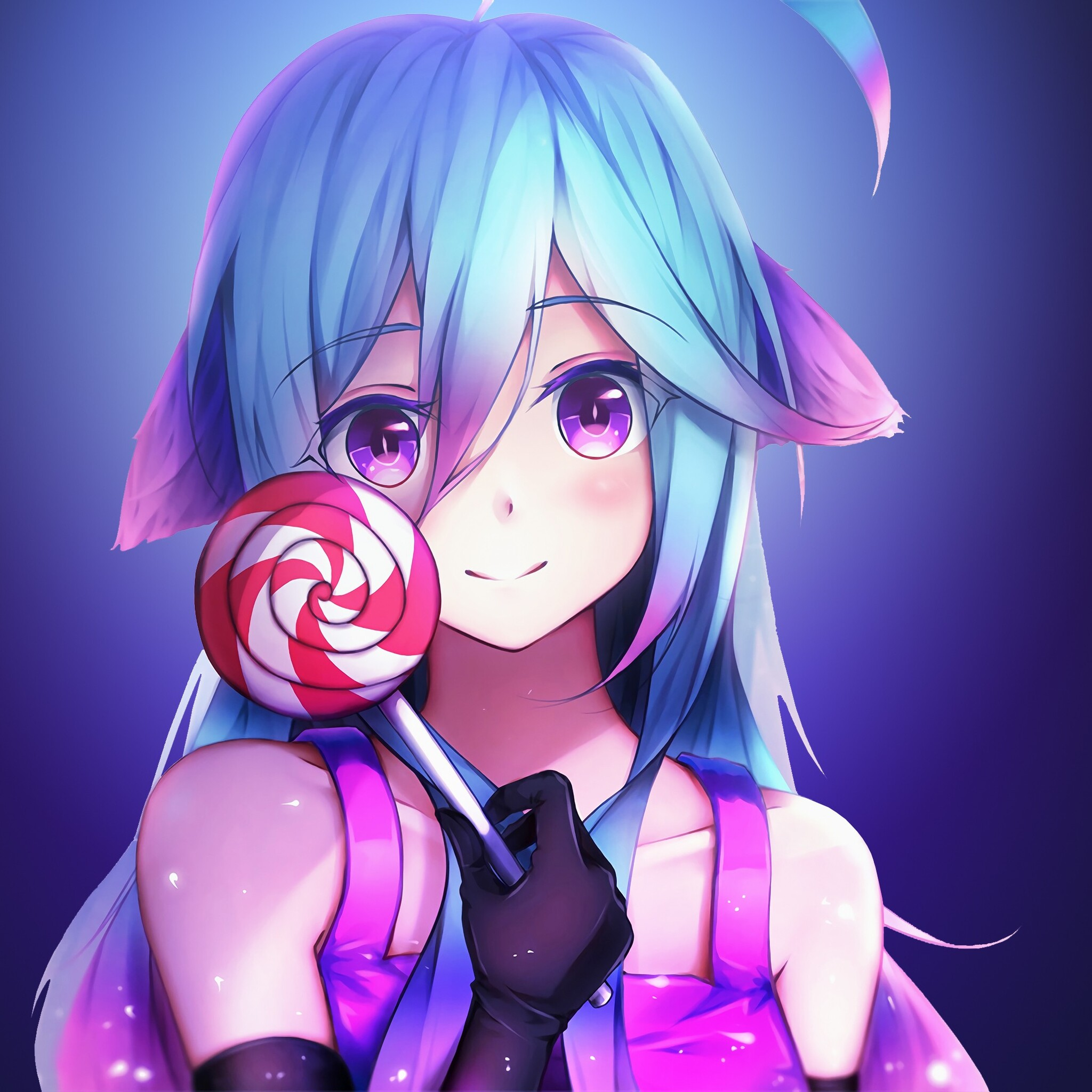 Cute Anime Girl 4k: 2048x2048 Anime Girl Cute Rainbows And Lolipop Ipad Air HD