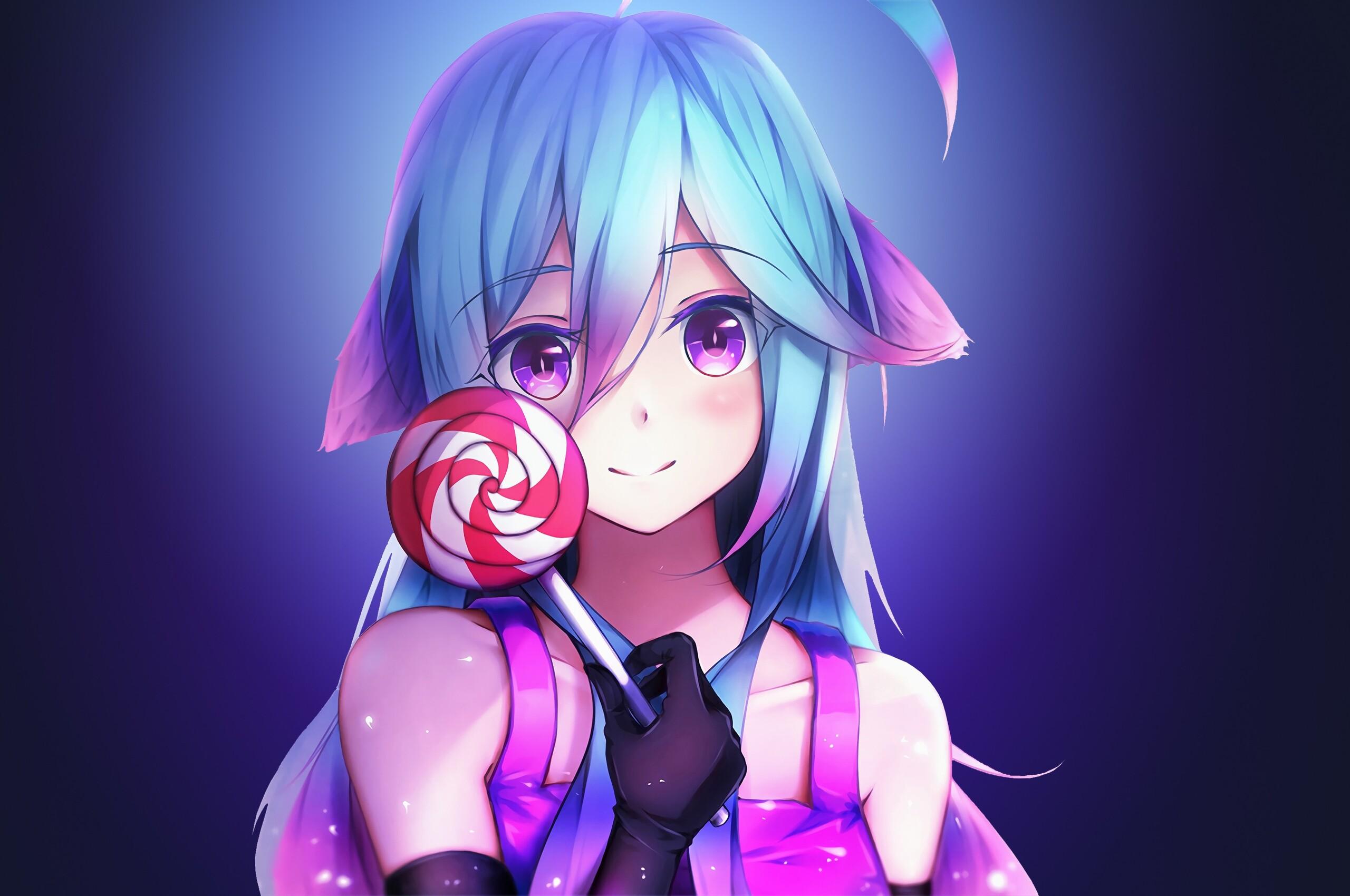 2560x1700 anime girl cute rainbows and lolipop chromebook - Wallpaper hd 1920x1080 anime ...