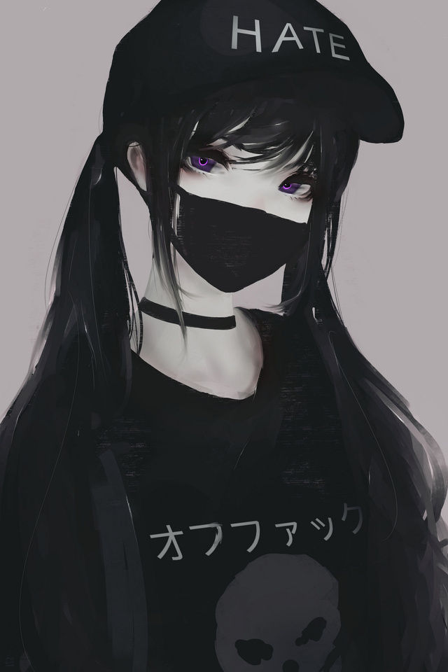 640x960 Anime Girl Face Mask Purple Eyes Twintails Hate 5k Iphone 4