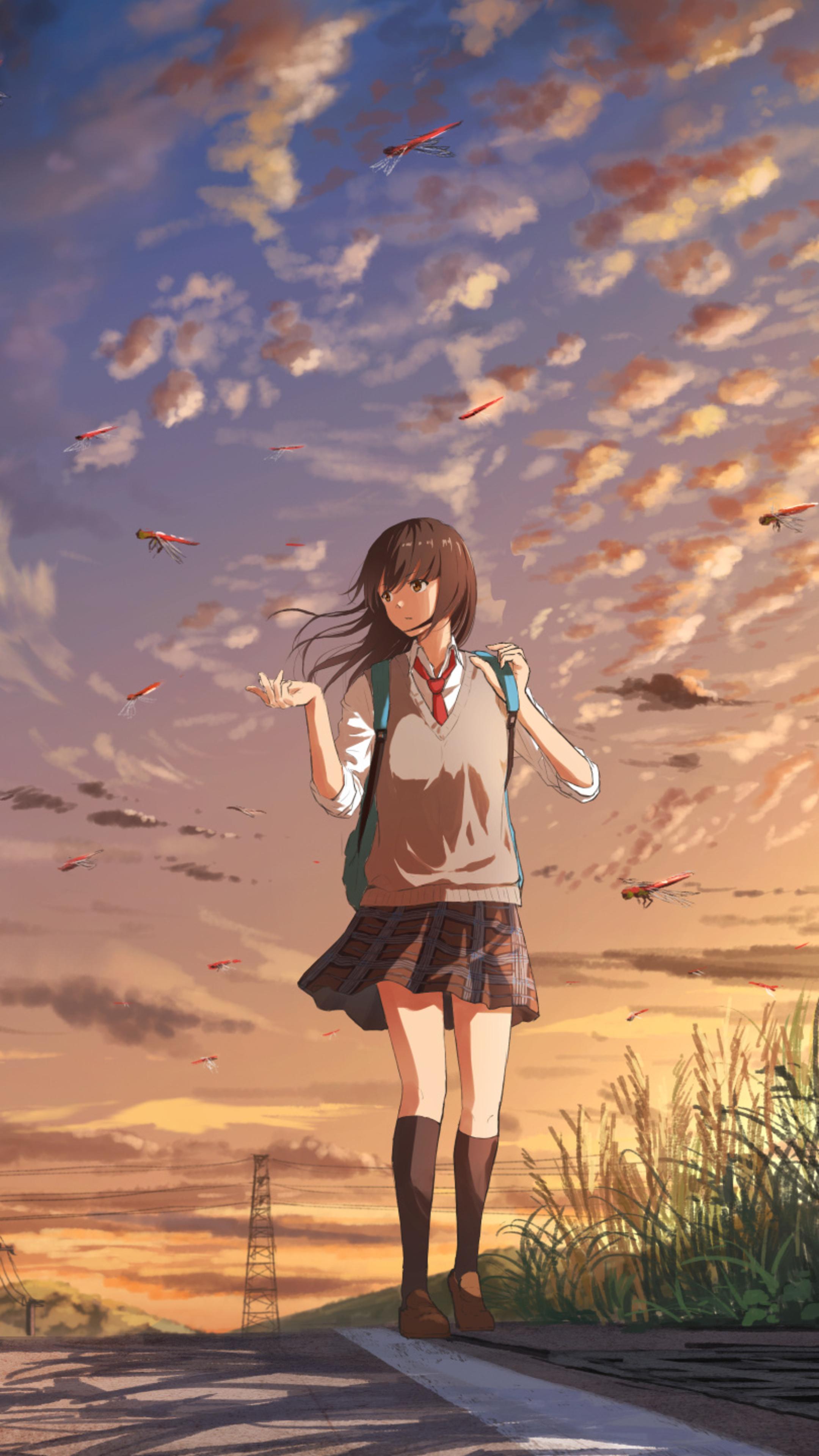 2160x3840 anime girl going to school sony xperia x xz z5 - Art wallpaper 2160x3840 ...
