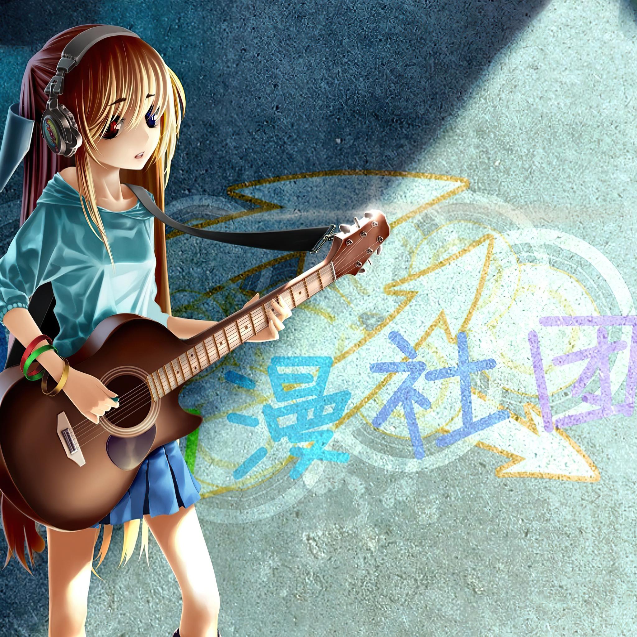 2048x2048 Anime Girl Guitar Grafitti 4k Ipad Air HD 4k ...