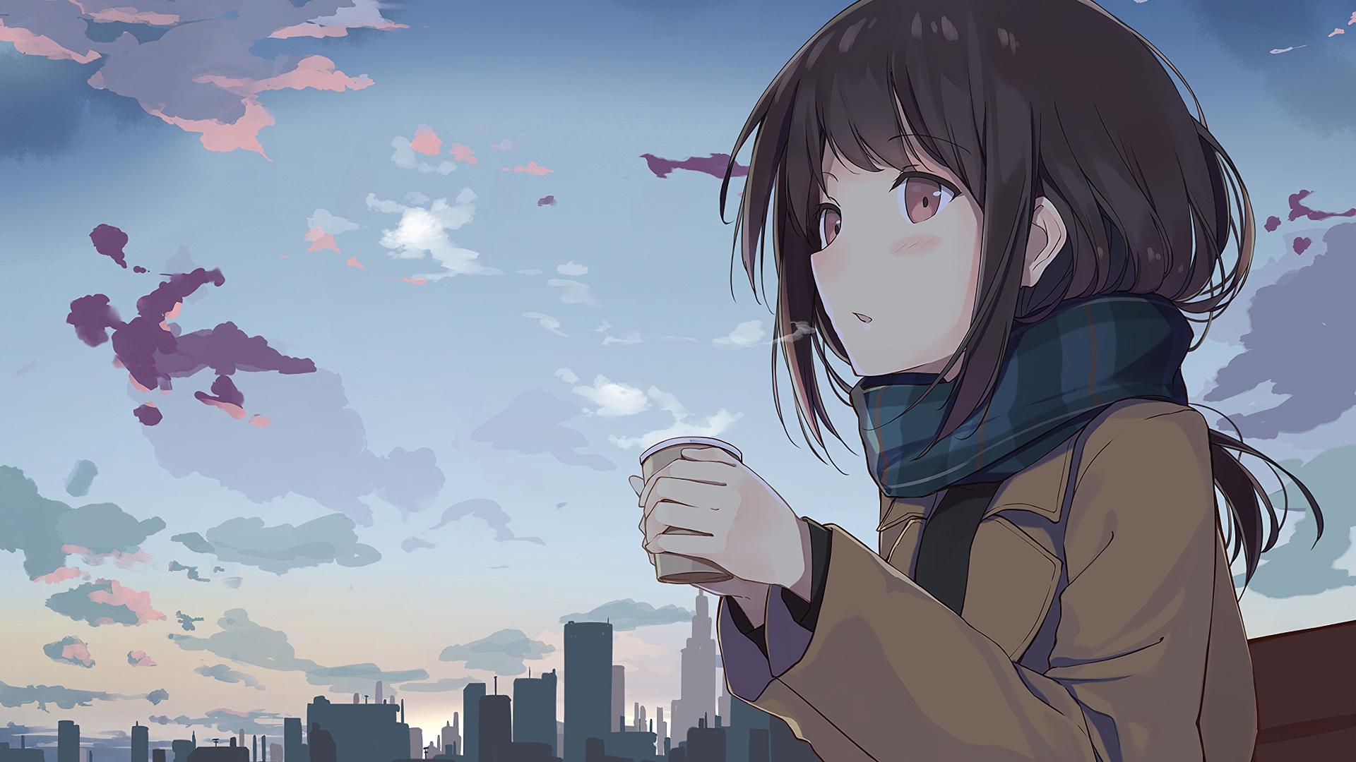 Anime 4k Wallpaper: 1920x1080 Anime Girl Holding Tea Outside Laptop Full HD
