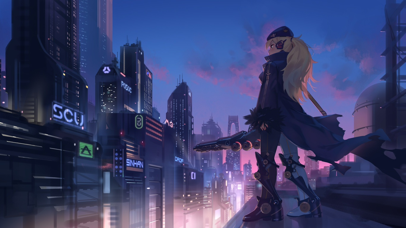 1366x768 Anime Girl In City 4k 1366x768 Resolution Hd 4k Wallpapers Images Backgrounds Photos And Pictures