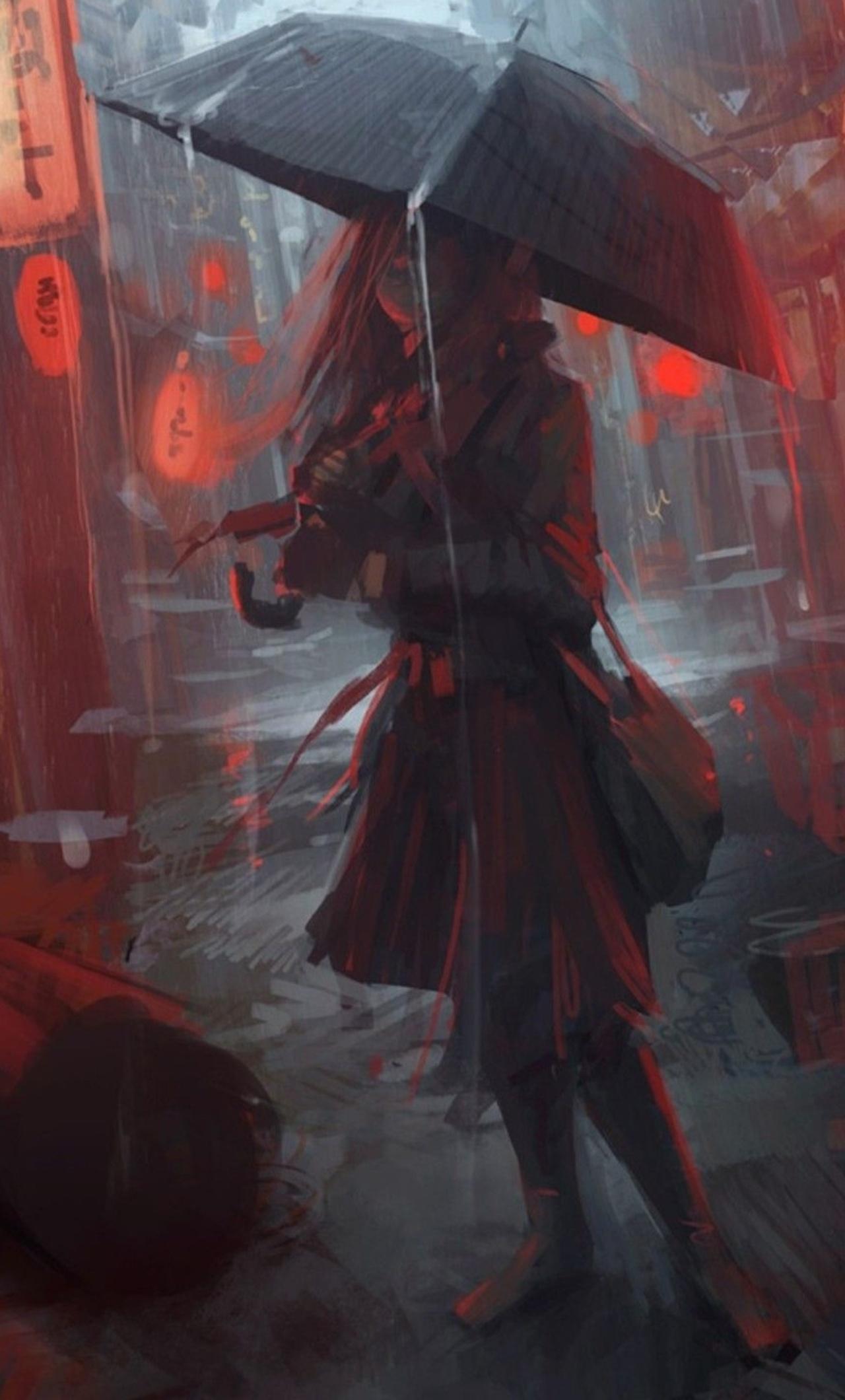 1280x2120 Anime Girl In Rain iPhone 6+ HD 4k Wallpapers ...