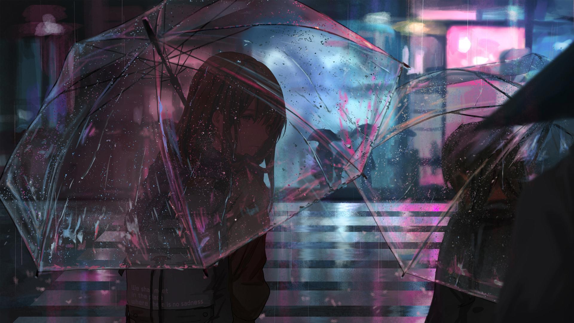 1920x1080 anime girl in rain with umbrella 4k laptop full - Anime background wallpaper 4k ...