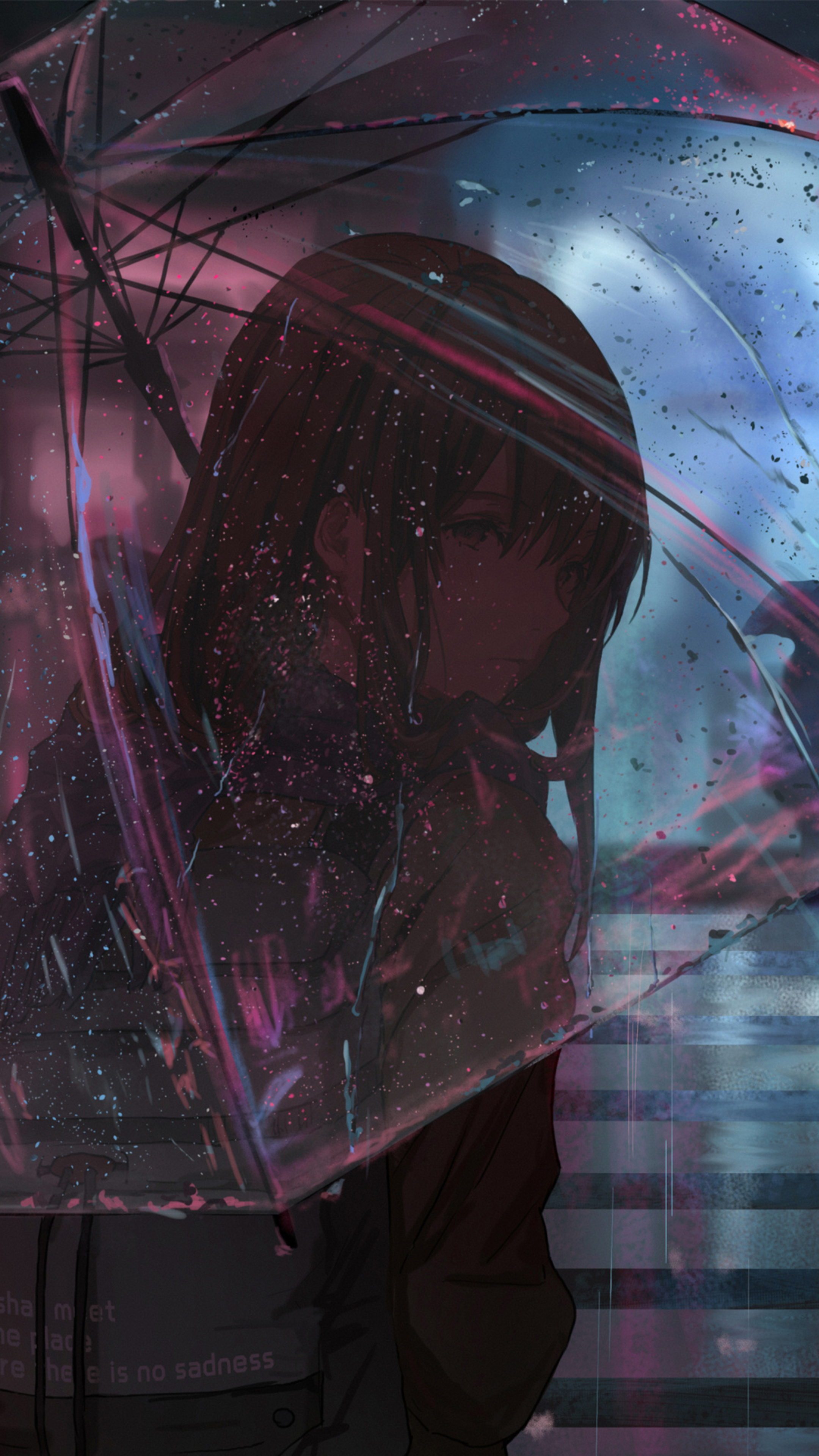 2160x3840 Anime Girl In Rain With Umbrella 4k Sony Xperia ...