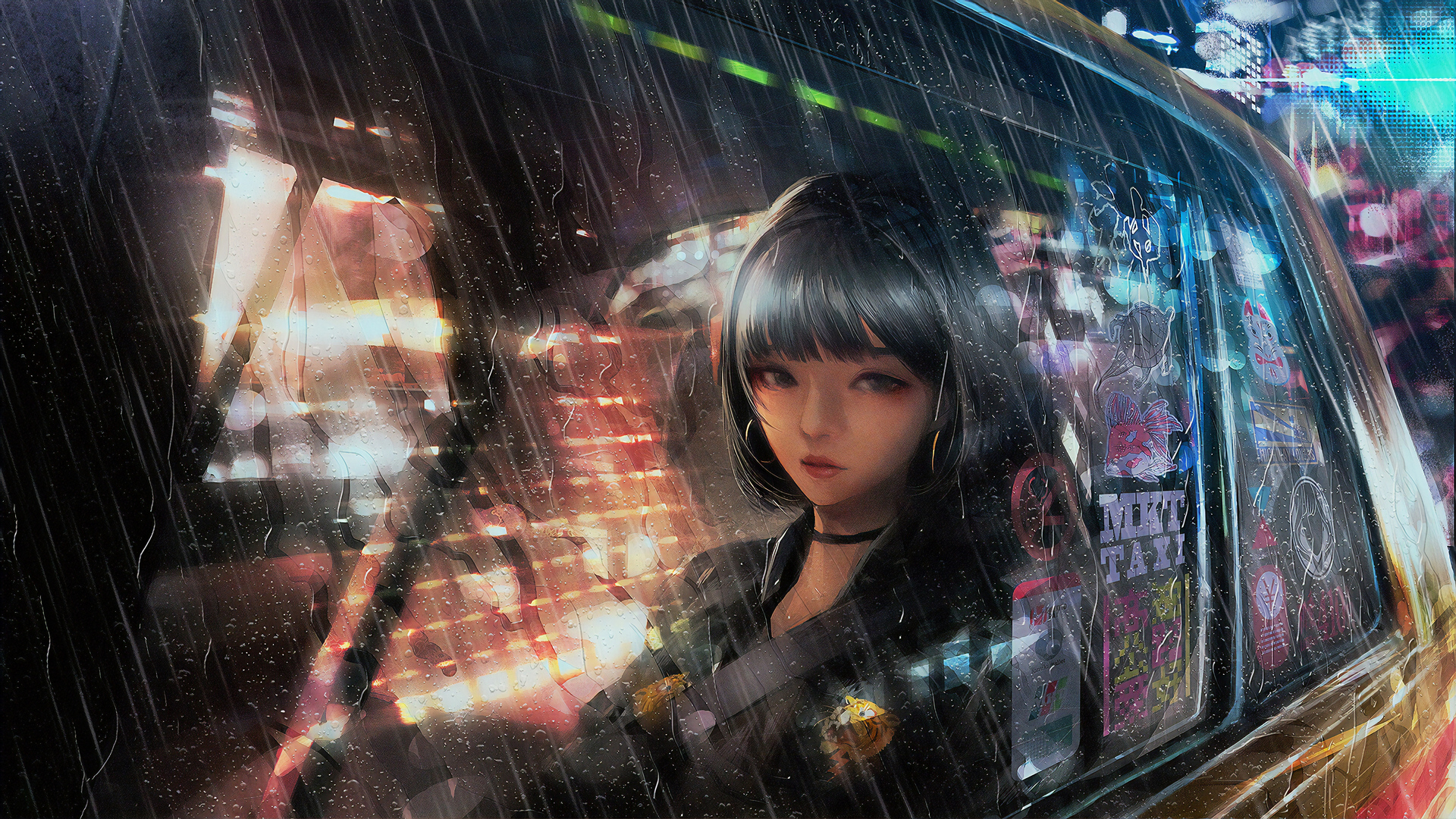 1920x1080 Anime Girl In Taxi Raining 4k Laptop Full HD ...