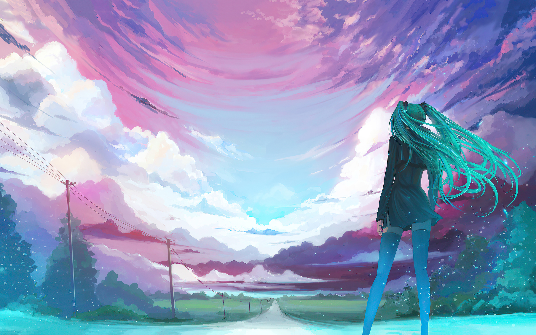 2880x1800 Anime Girl Long Hair Cold Winds 4k Macbook Pro ...