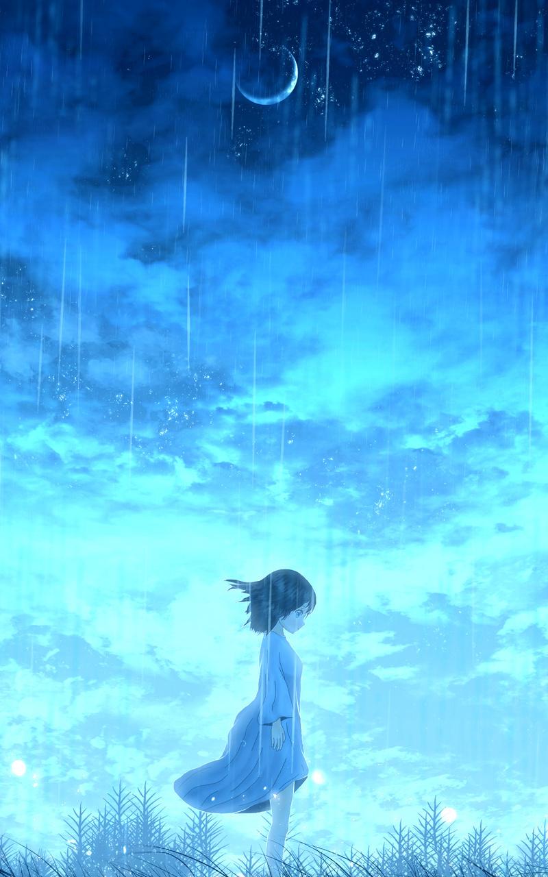 anime girl night rain 4k 0a