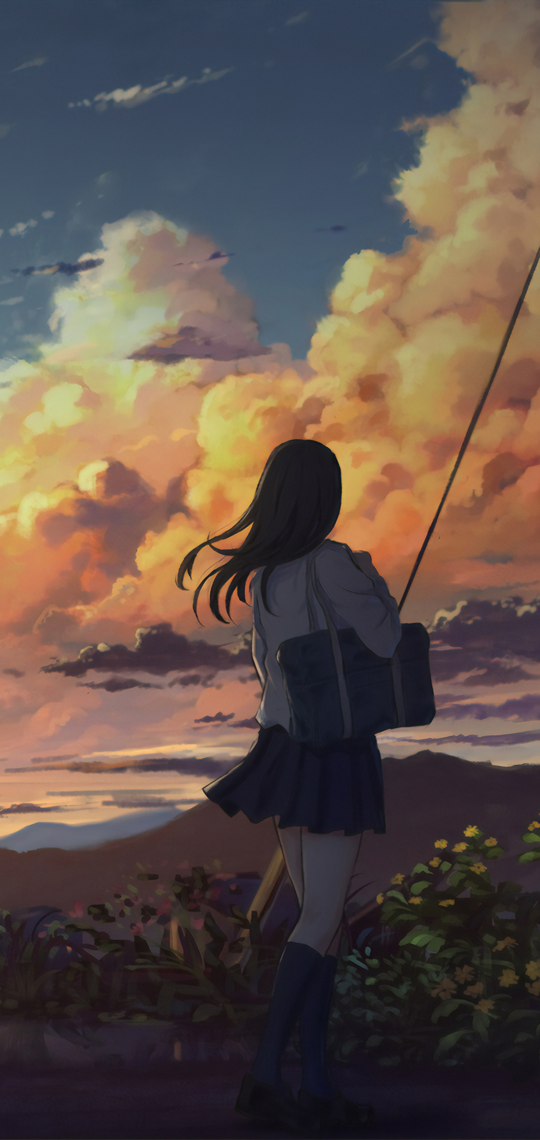 1080x2280 Anime Girl Outside Power Lines Clouds 4k One ...