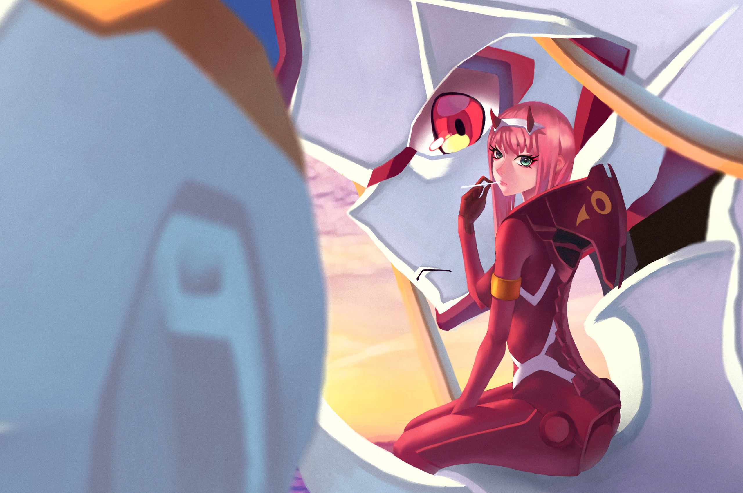 2560x1700 Anime Girl Pink Hair Zero Two Darling In The Franxx