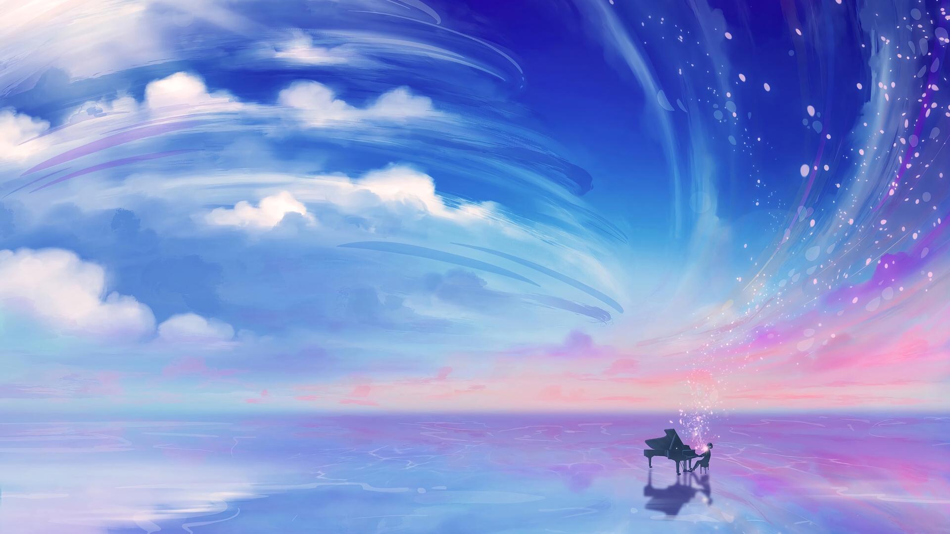 1920x1080 Anime Girl Playing Piano Laptop Full HD 1080P HD ...