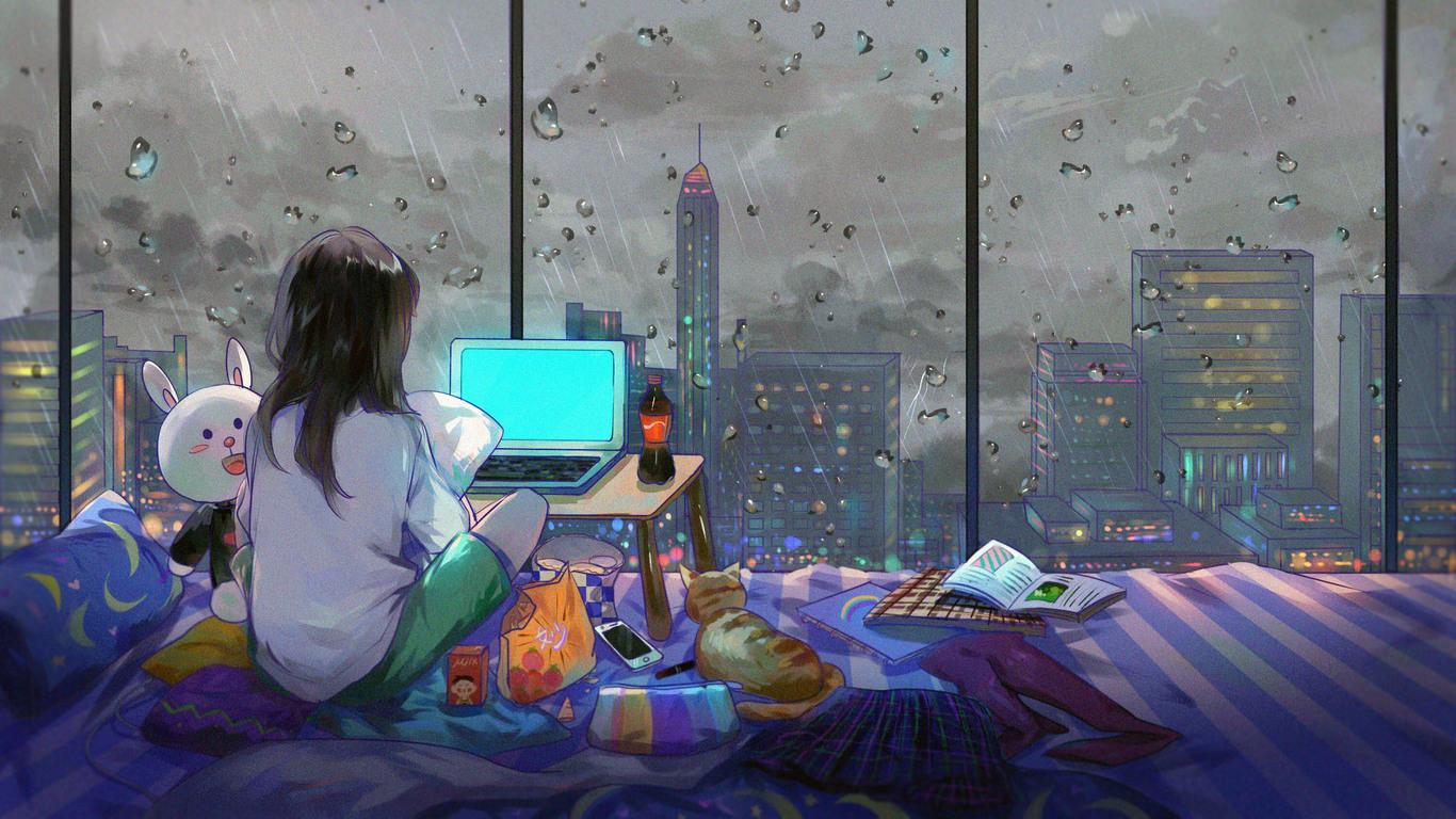 1366x768 Anime Girl Room City Cat 1366x768 Resolution HD ...