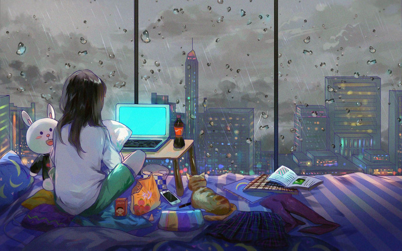 1680x1050 Anime Girl Room City Cat 1680x1050 Resolution HD ...