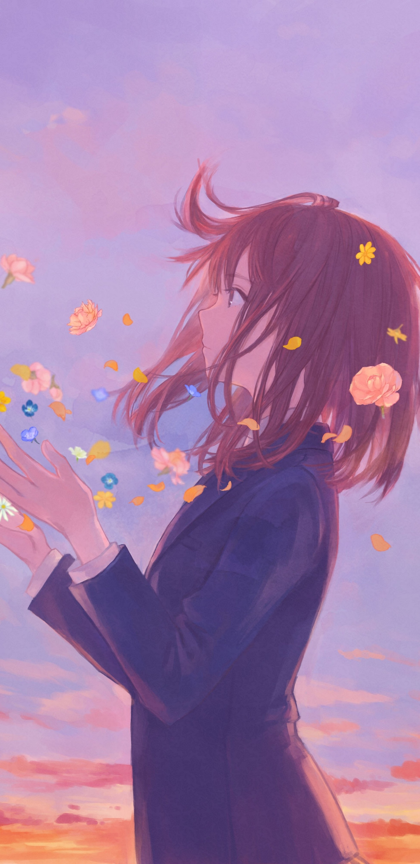 1440x2960 anime girl school uniform flowers clouds 8k samsung galaxy