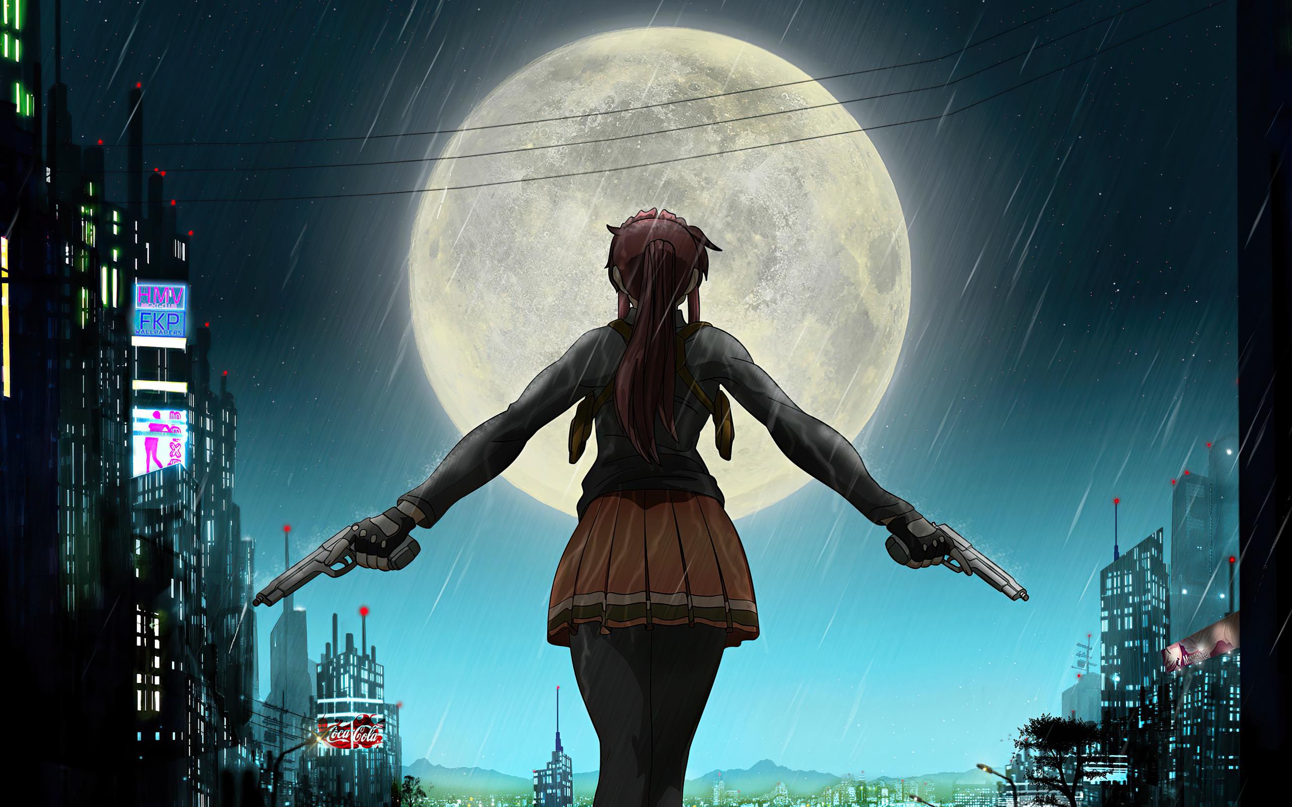 2560x1600 Anime Girl School Uniform Ponytail Rain 4k ...