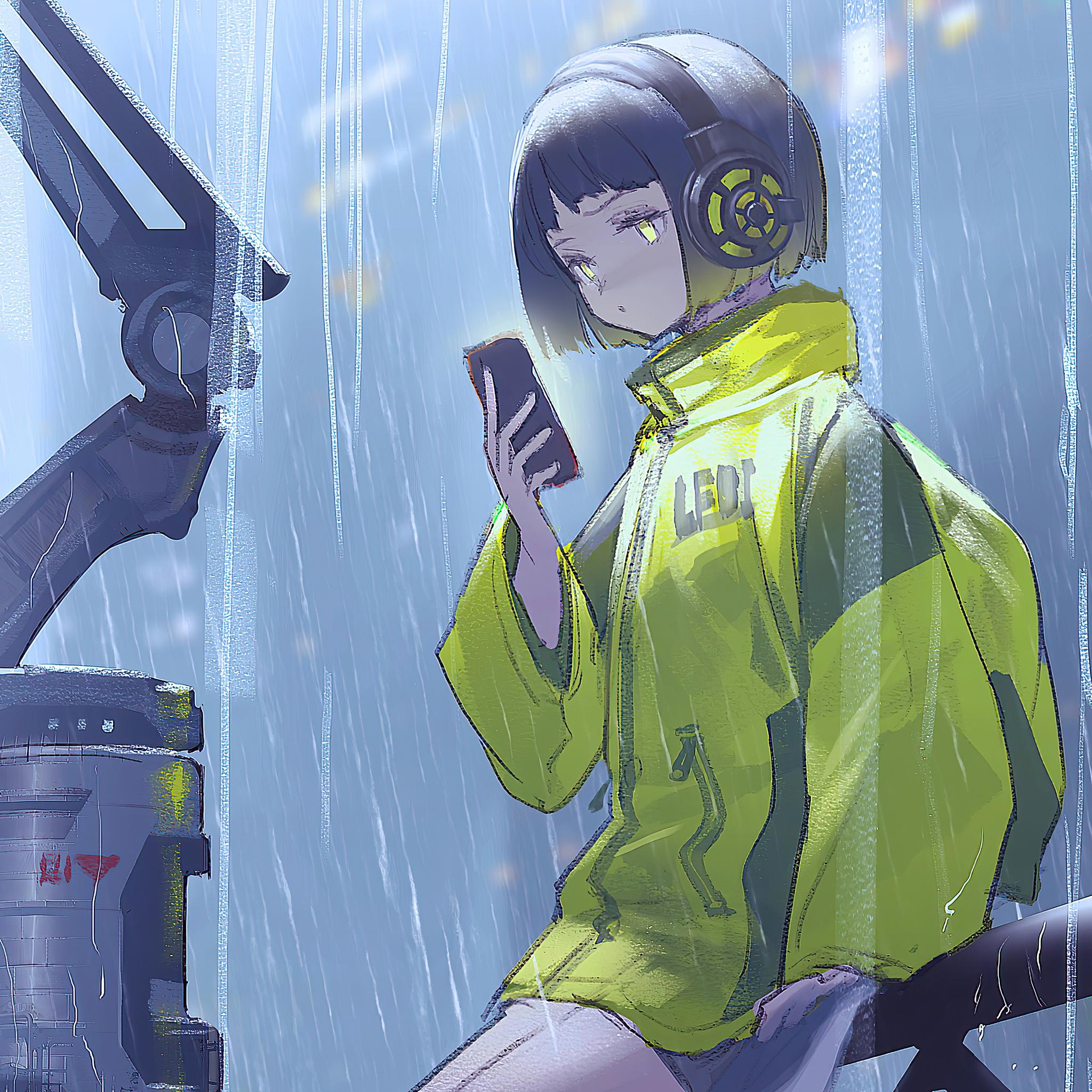 2048x2048 Anime Girl Scifi Umbrella Rain 4k Ipad Air HD 4k ...
