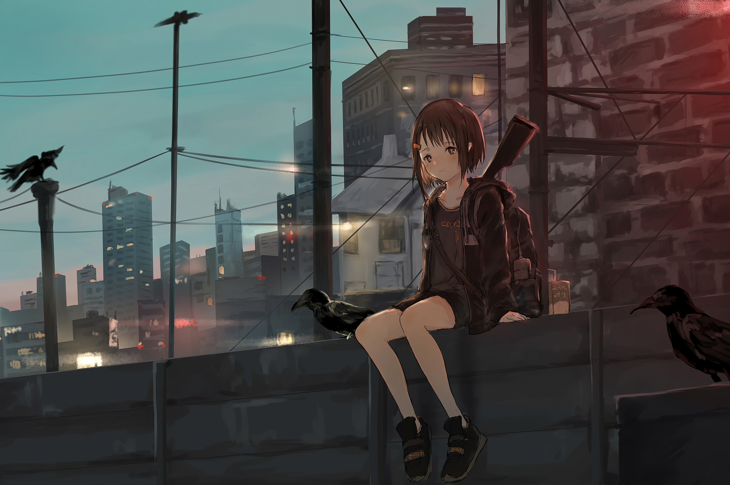 2560x1700 Anime Girl Sitting Alone Roof Sad 4k Chromebook Pixel Hd 4k Wallpapers Images Backgrounds Photos And Pictures