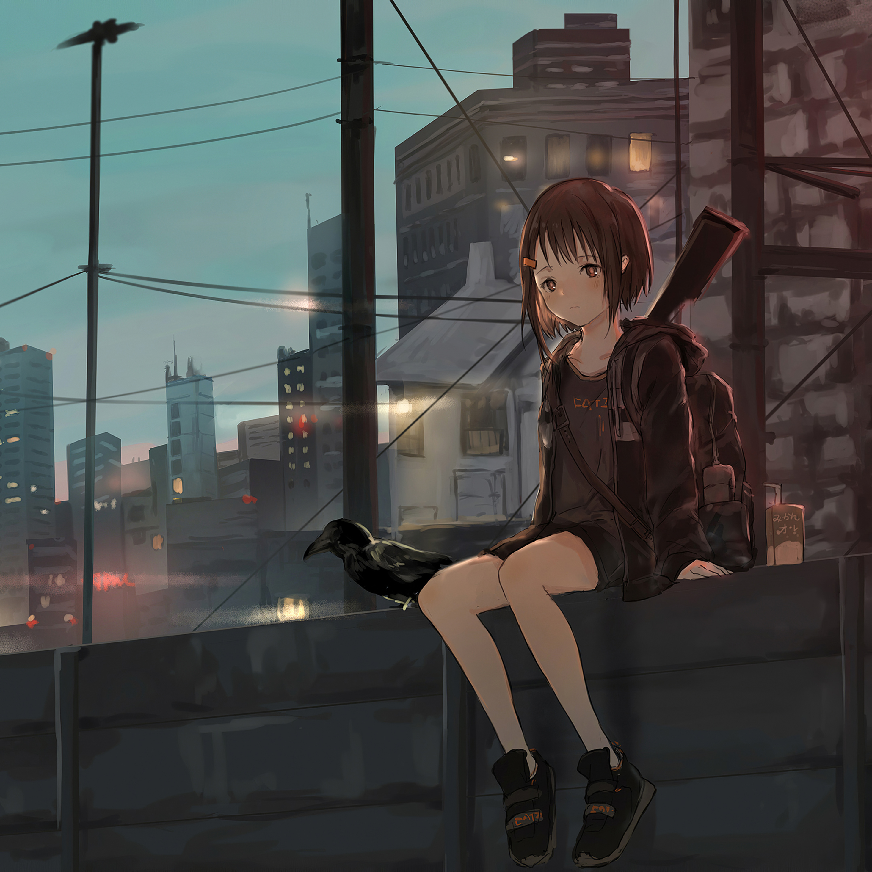 2932x2932 Anime Girl Sitting Alone Roof Sad 4k Ipad Pro Retina Display Hd 4k Wallpapers Images Backgrounds Photos And Pictures
