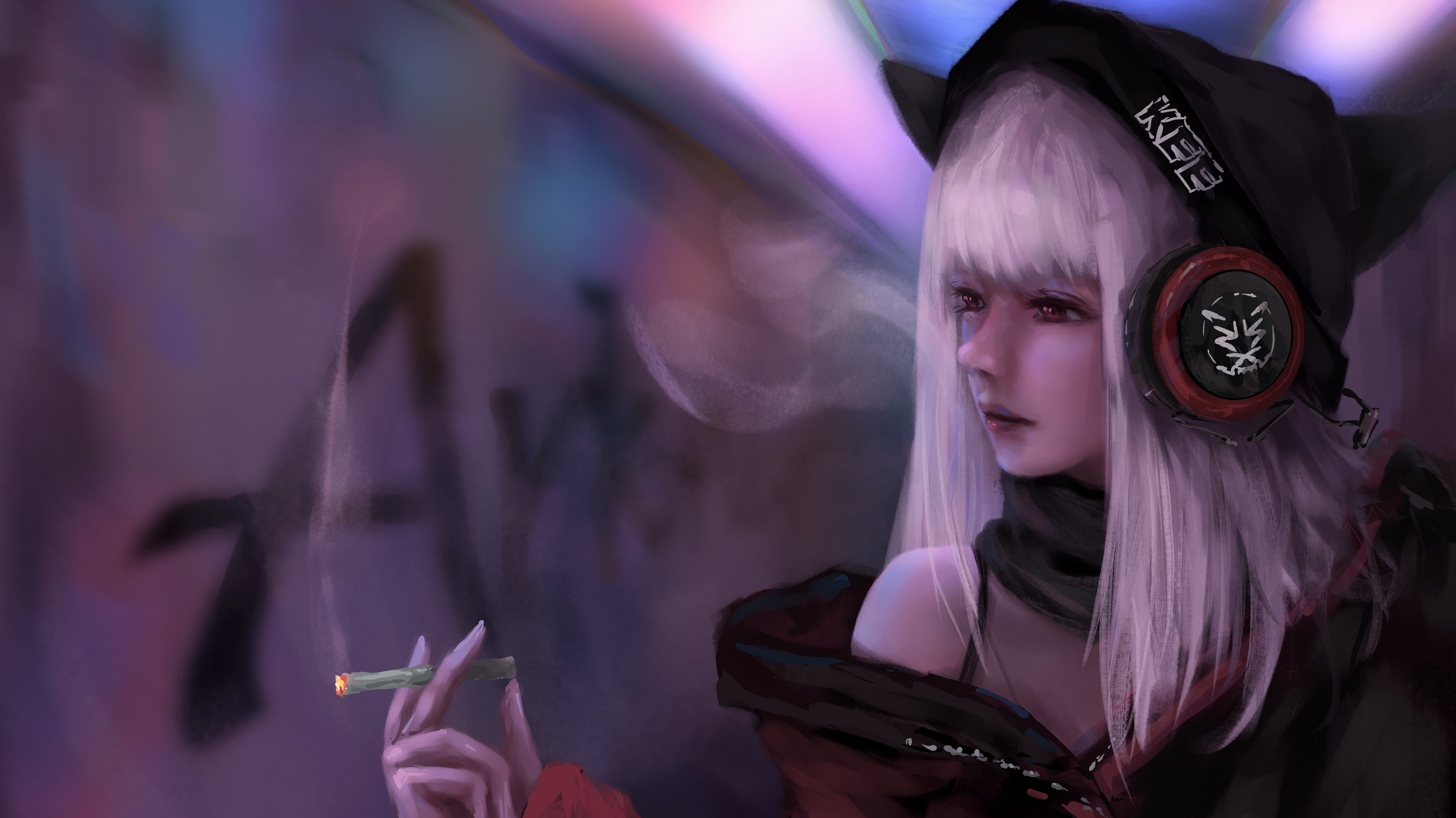 3840x2160 Anime Girl Smoking And Listening Music 8k 4k Hd 4k