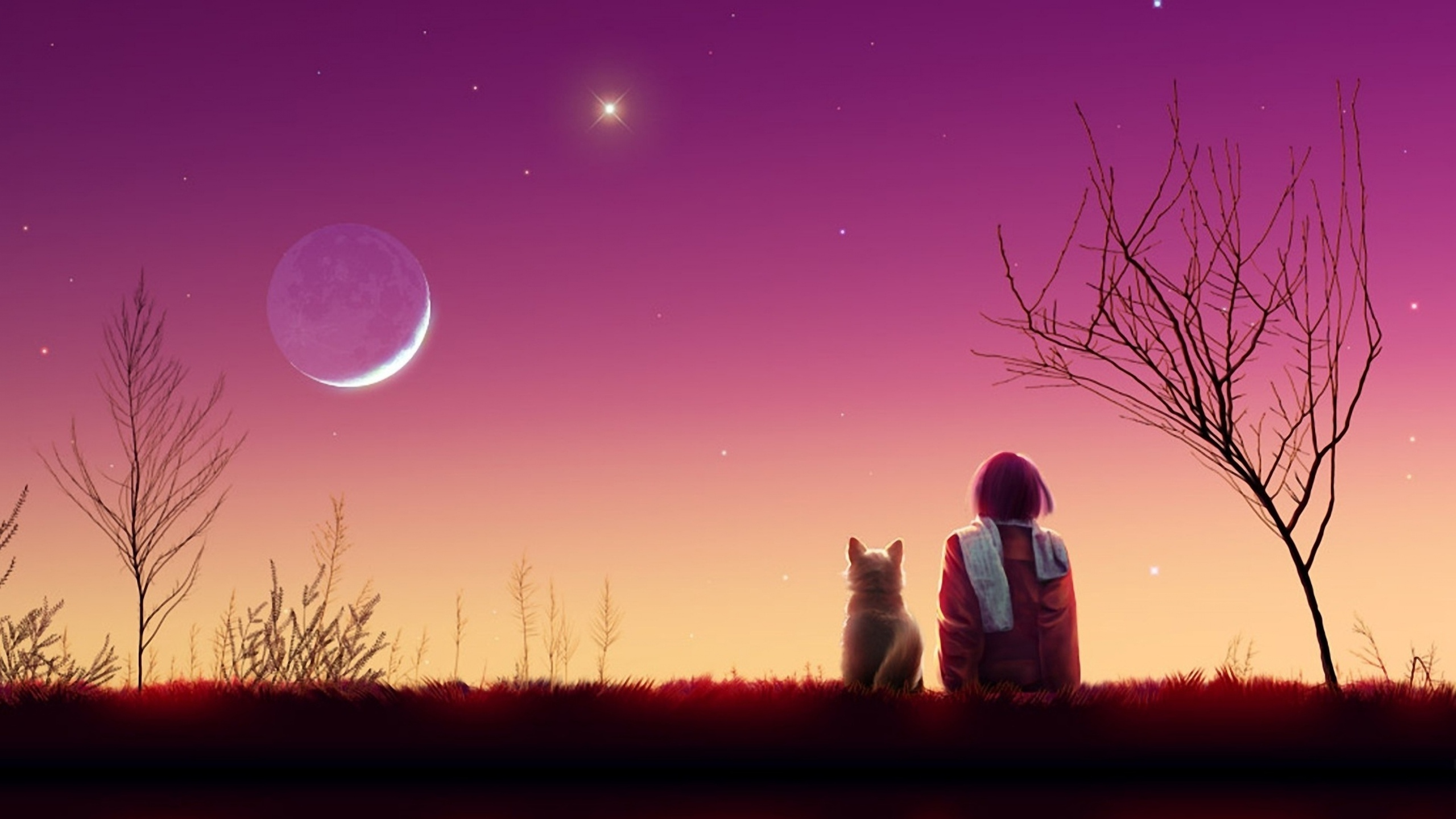 2560x1440 Anime Girl Sunset 1440P Resolution HD 4k Wallpapers