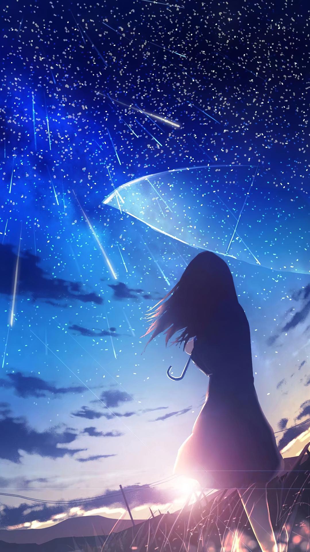 1080x1920 Anime Girl Umbrella Rain 4k Iphone 7,6s,6 Plus ...