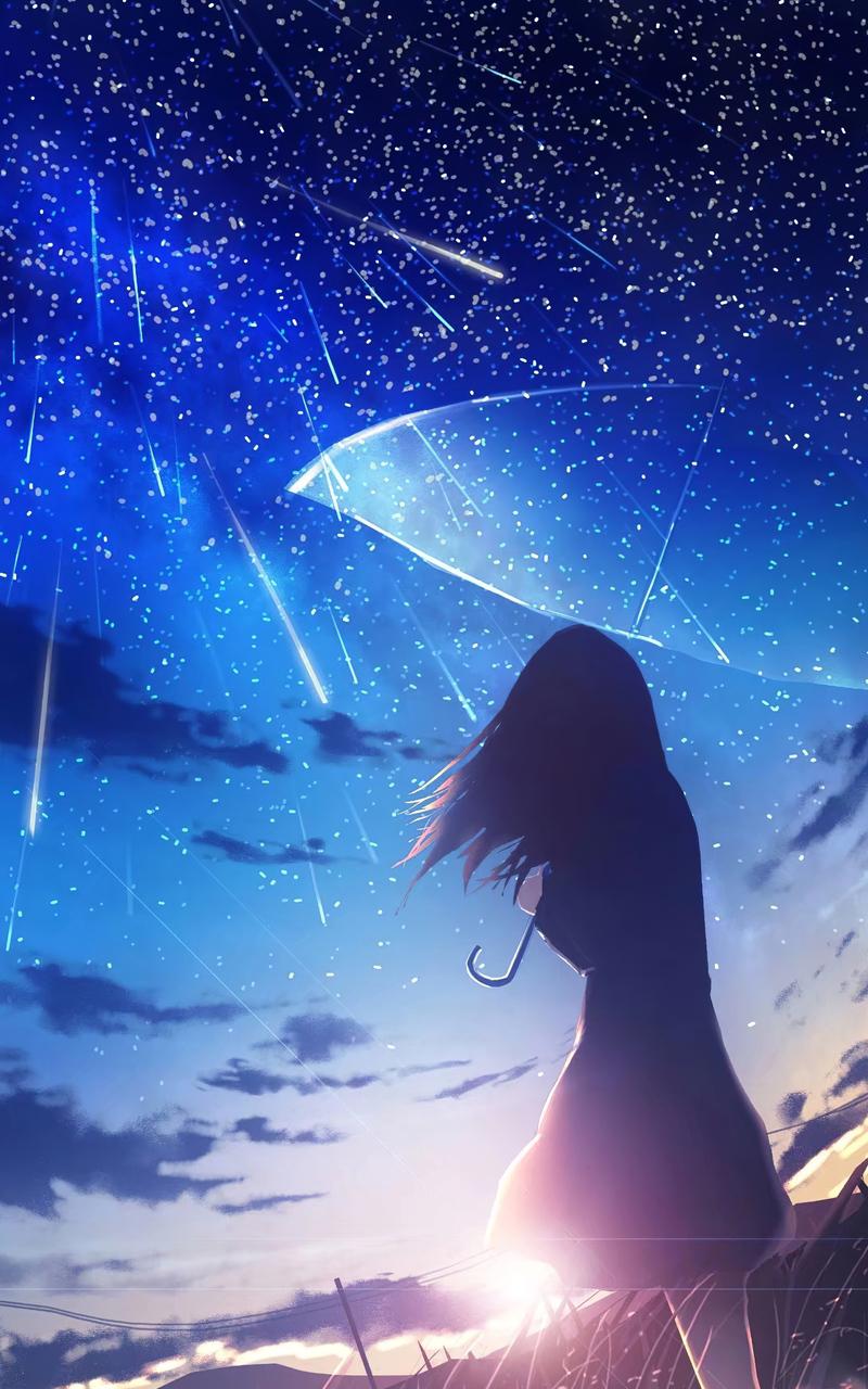 anime girl umbrella rain 4k ac