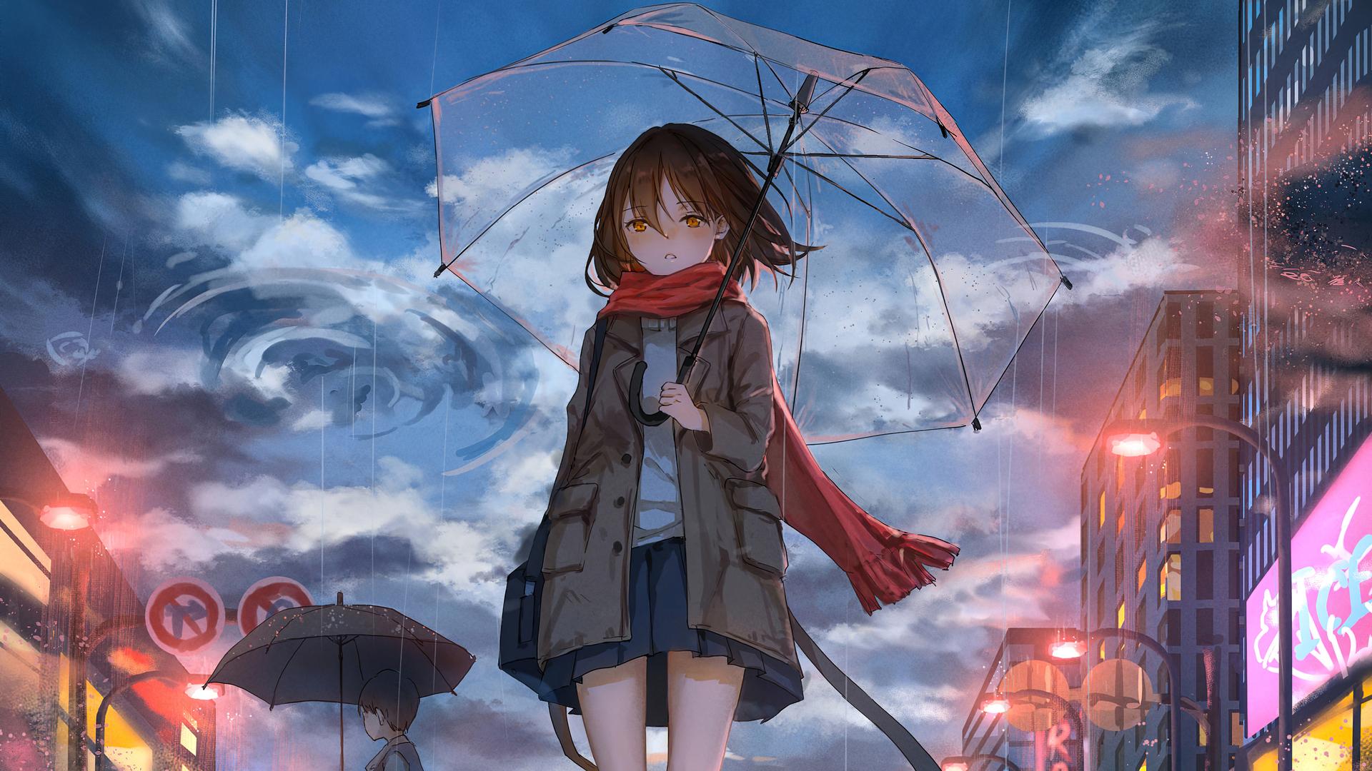 1920x1080 Anime Girl Walking In Rain With Umbrella 4k ...