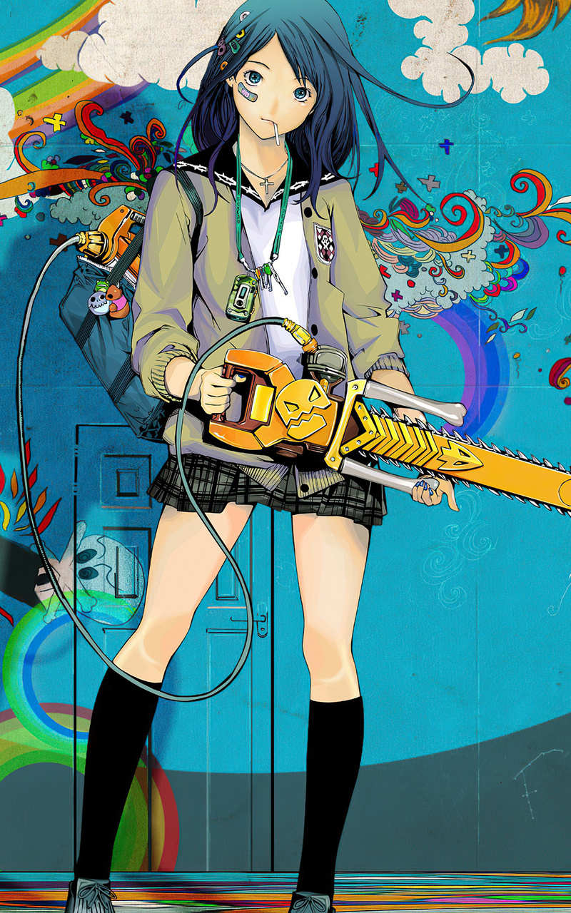 800x1280 Anime Girl With Chainsaw 4k Nexus 7,Samsung ...