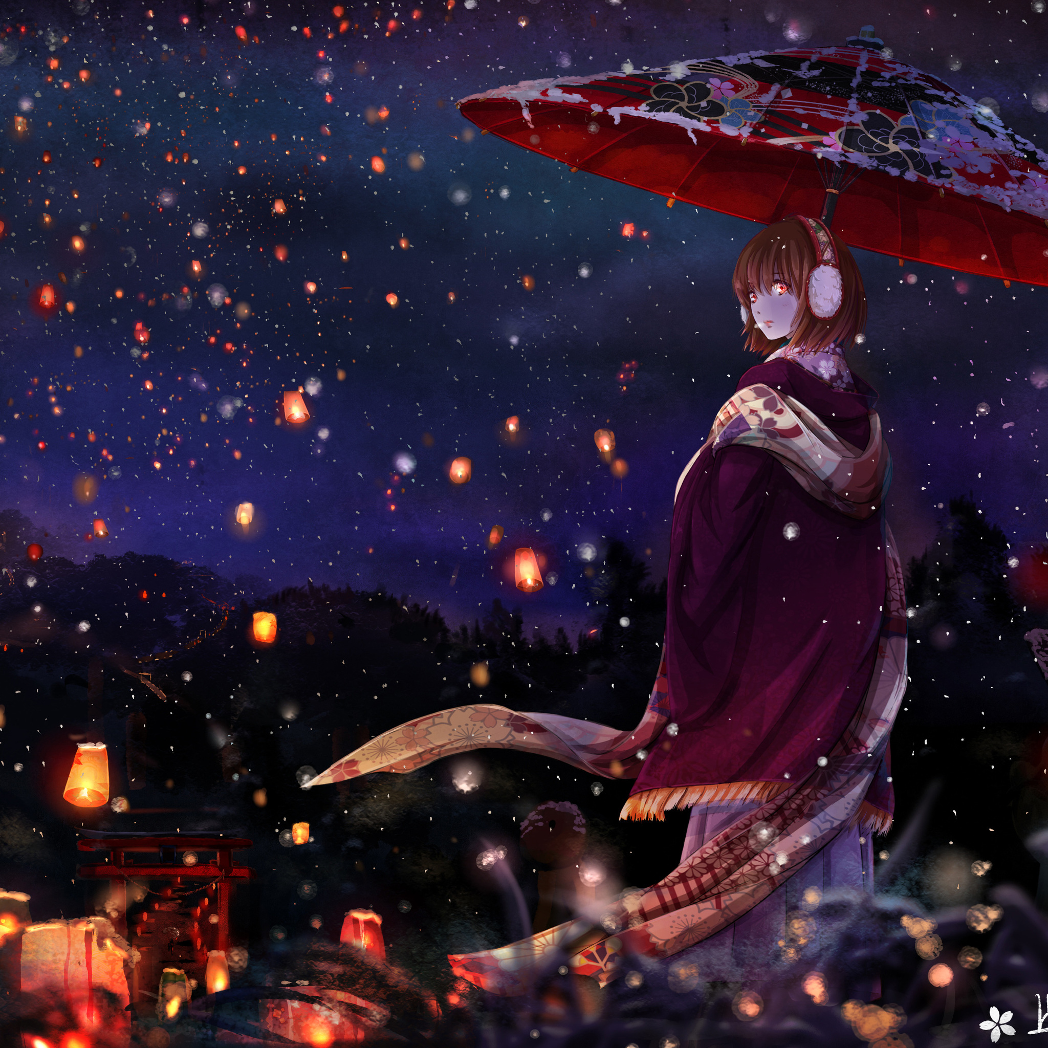 2048x2048 Anime Girl With Umbrella Ipad Air HD 4k ...