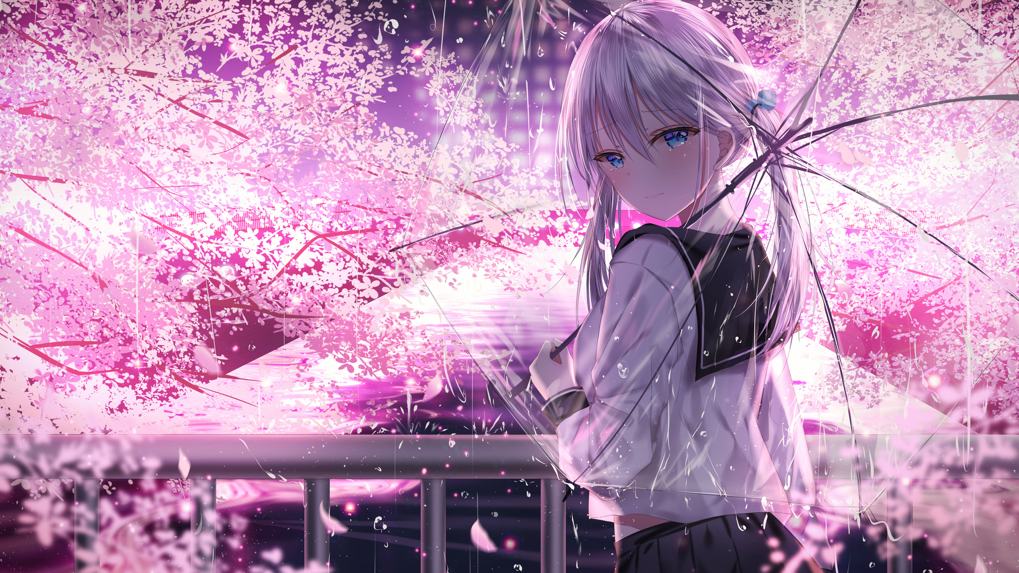2048x1152 Anime Girl With Umbrella Outdoors Looking Back 5k