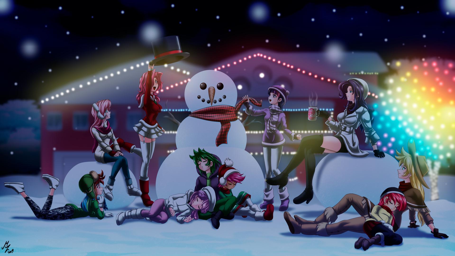 1920x1080 Anime Girls Celebrating Christmas 4k Laptop Full ...