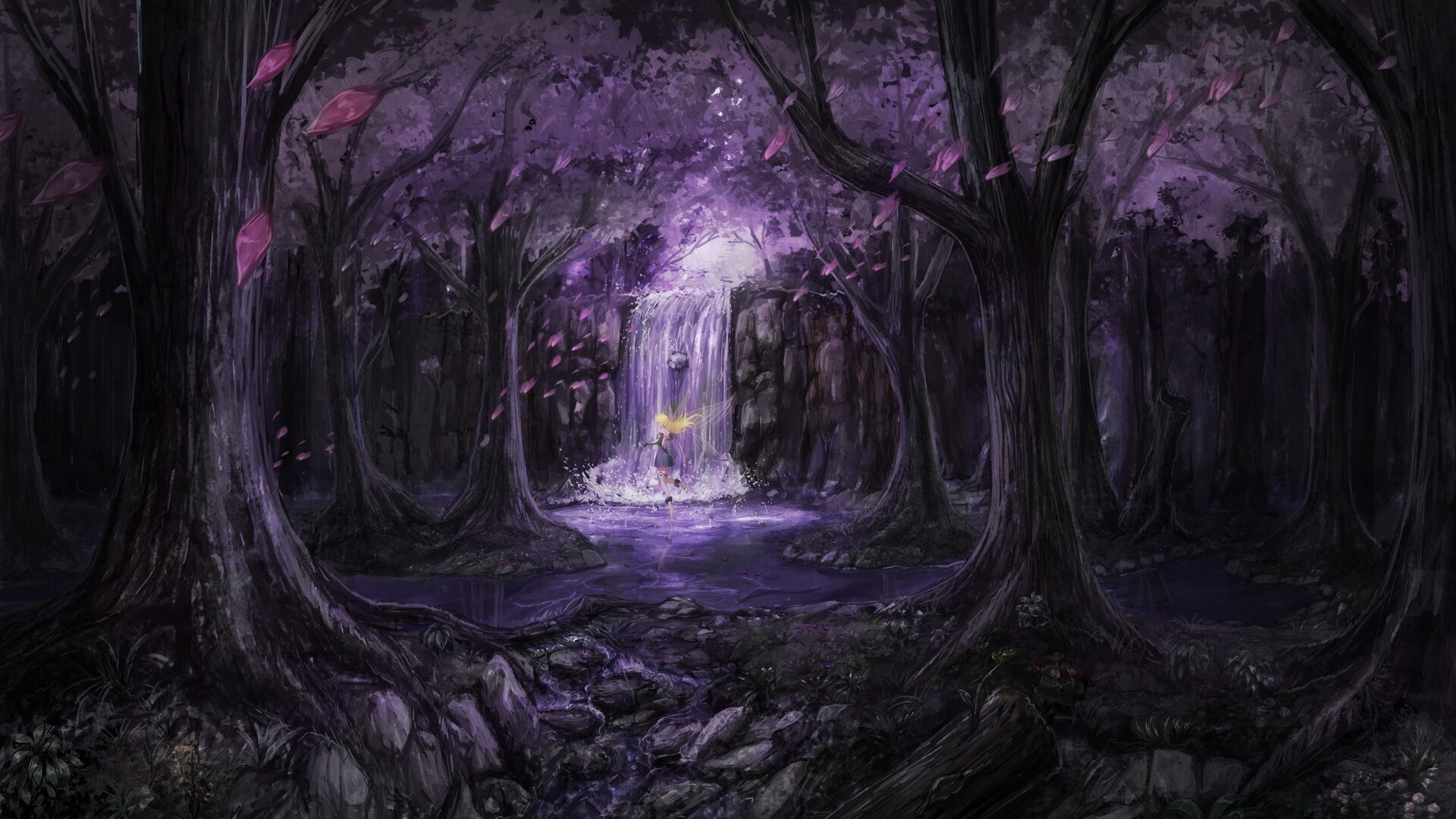1920x1080 Anime Landscape Trees Dress Fairies 5k Laptop Full Hd