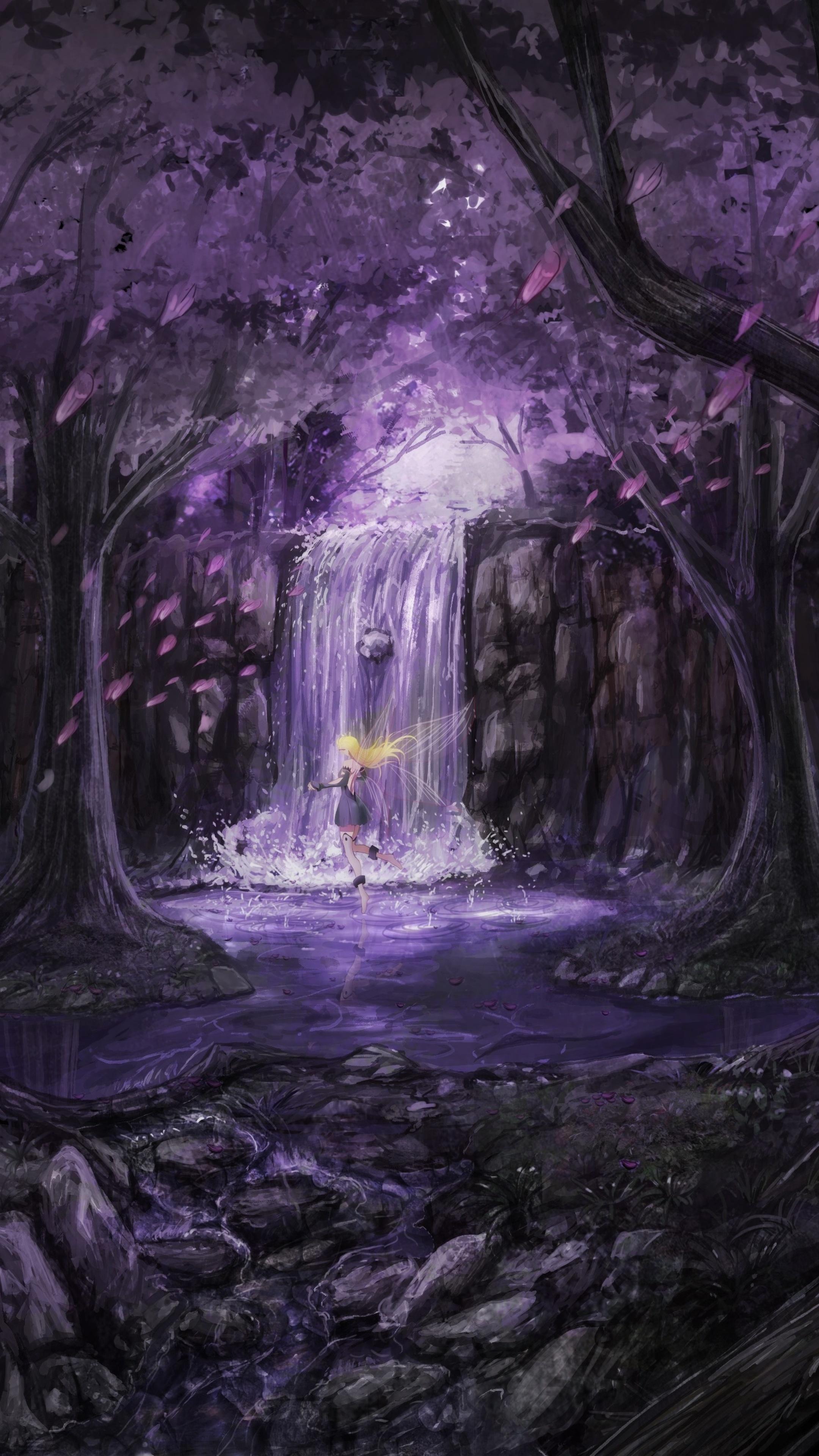 2160x3840 anime landscape trees dress fairies 5k sony - Art wallpaper 2160x3840 ...