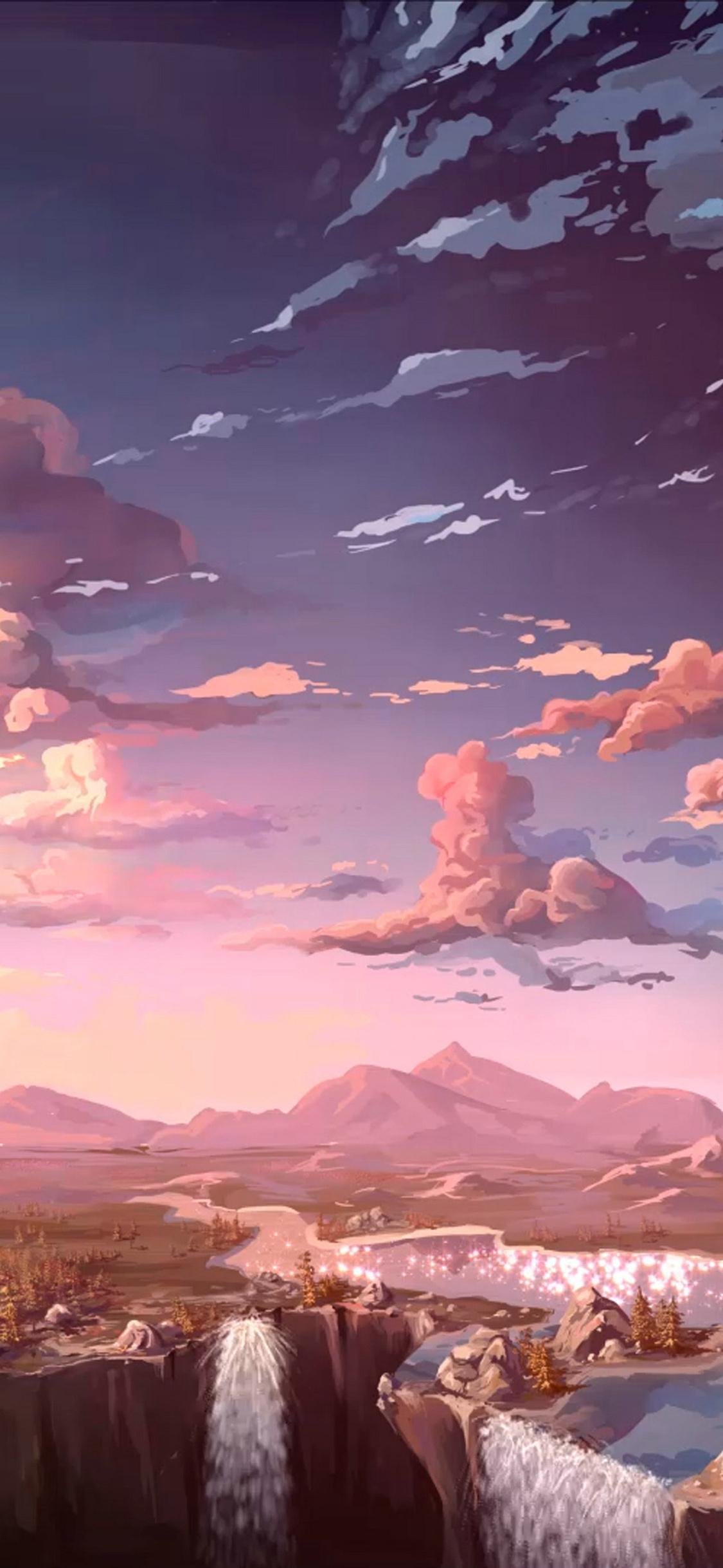1125x2436 Anime Landscape Waterfall Cloud 5k Iphone XS ...