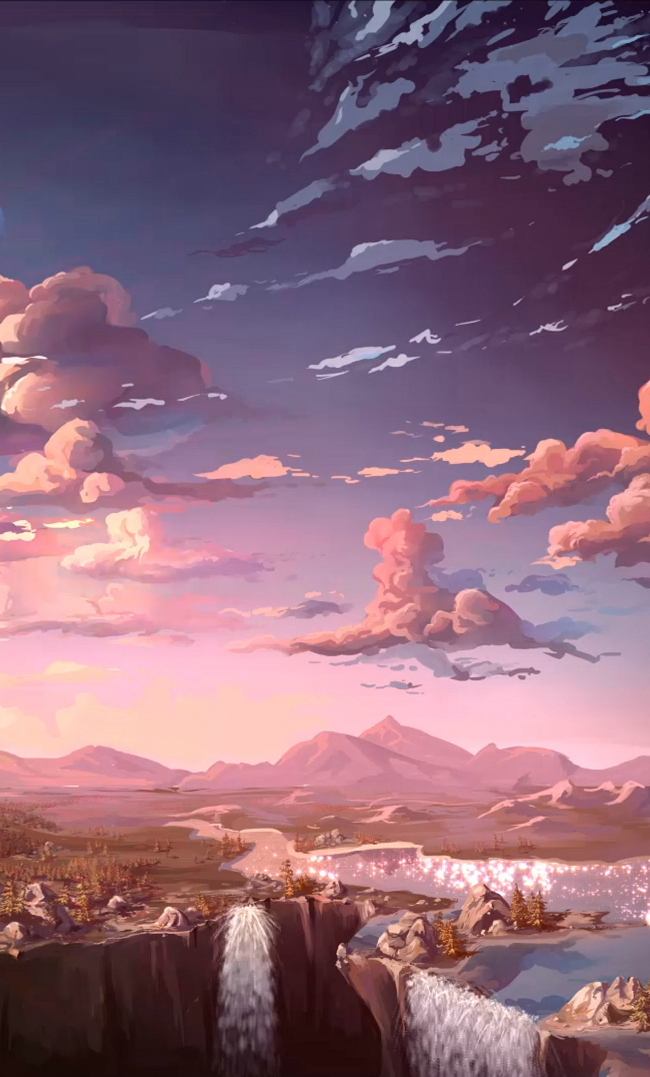 1280x2120 anime landscape waterfall cloud 5k iphone 6 hd - 5k anime wallpaper ...