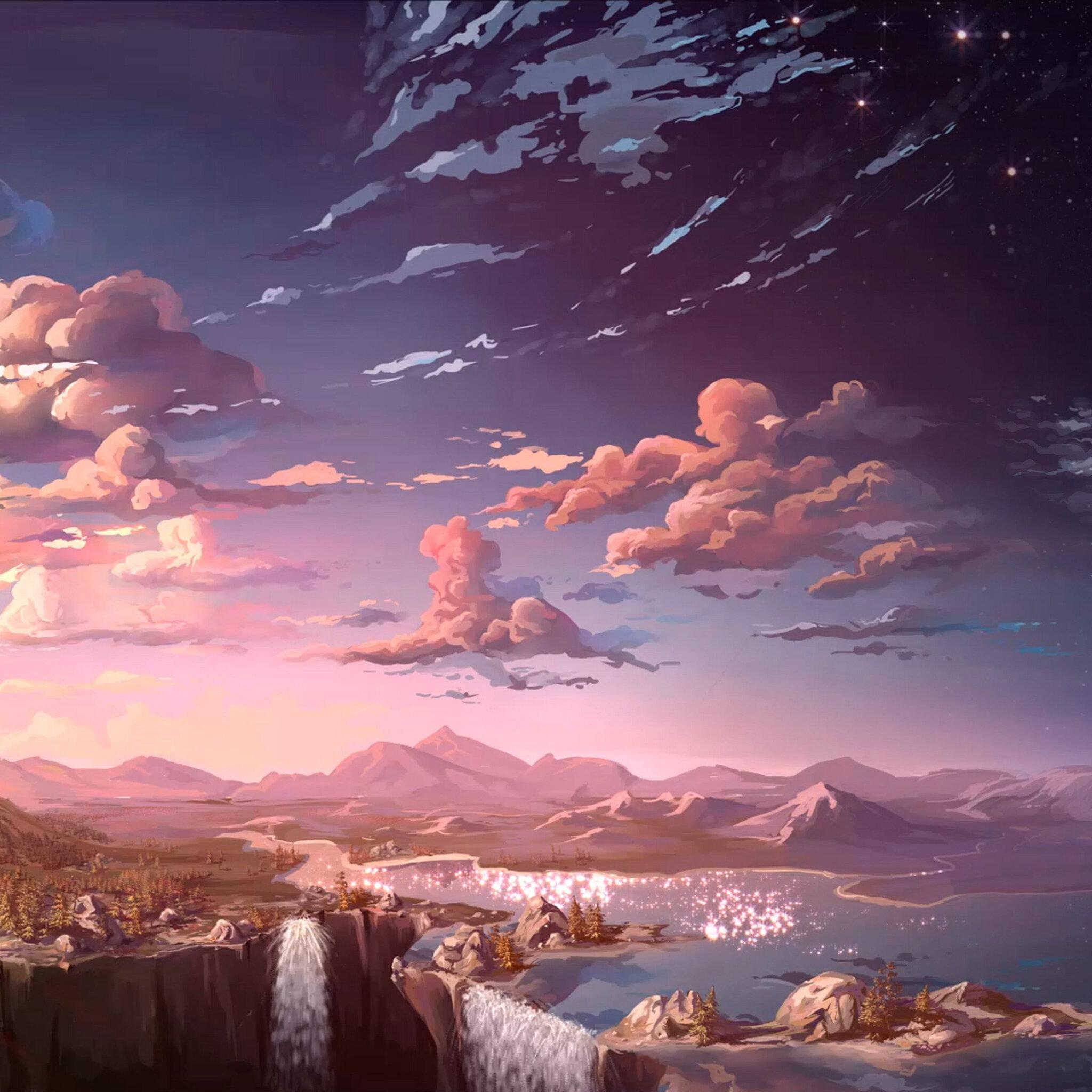 2048x2048 Anime Landscape Waterfall Cloud 5k Ipad Air HD