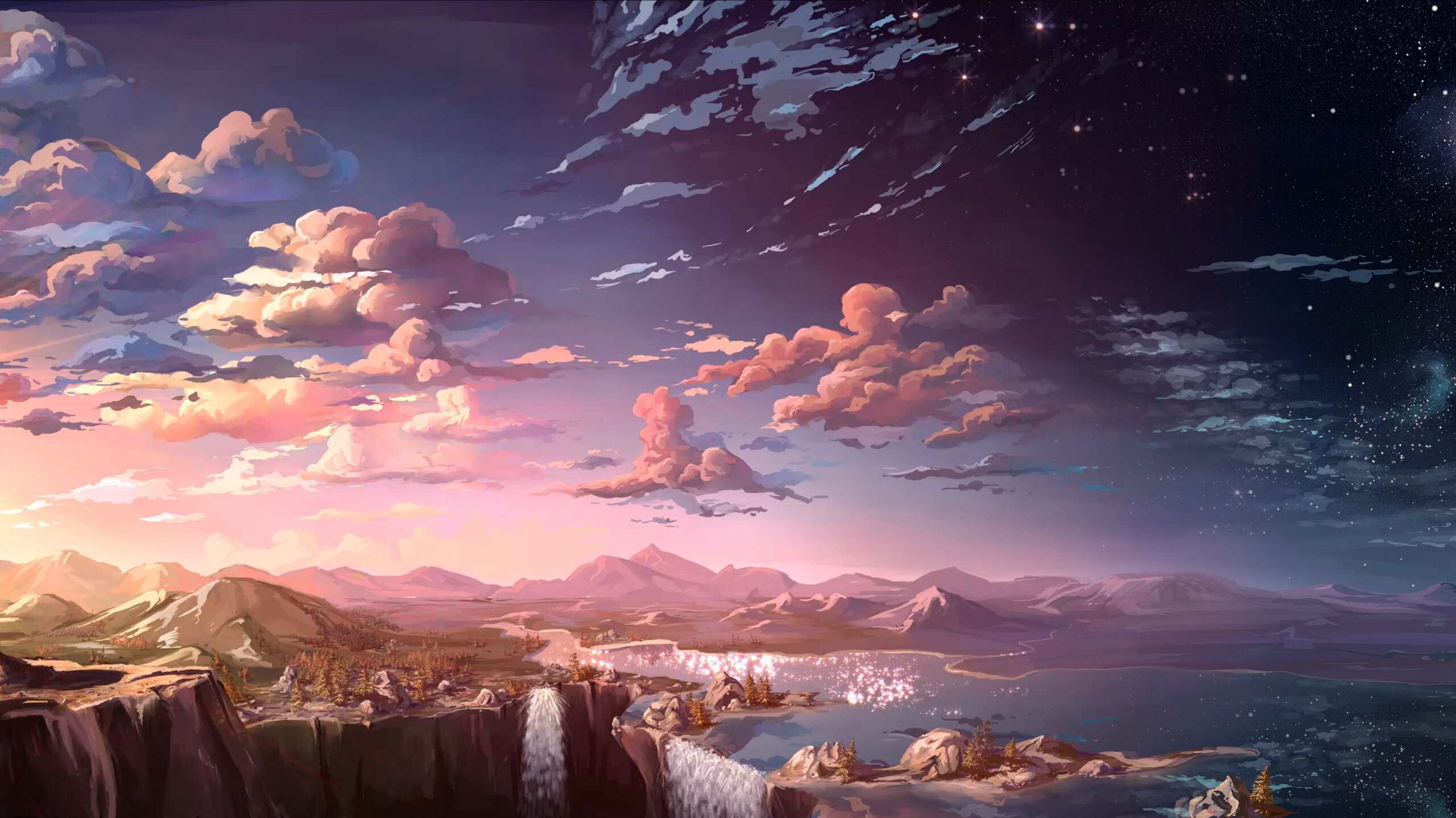 2560x1440 Anime Landscape Waterfall Cloud 5k 1440p Resolution Hd 4k Wallpapers Images Backgrounds Photos And Pictures