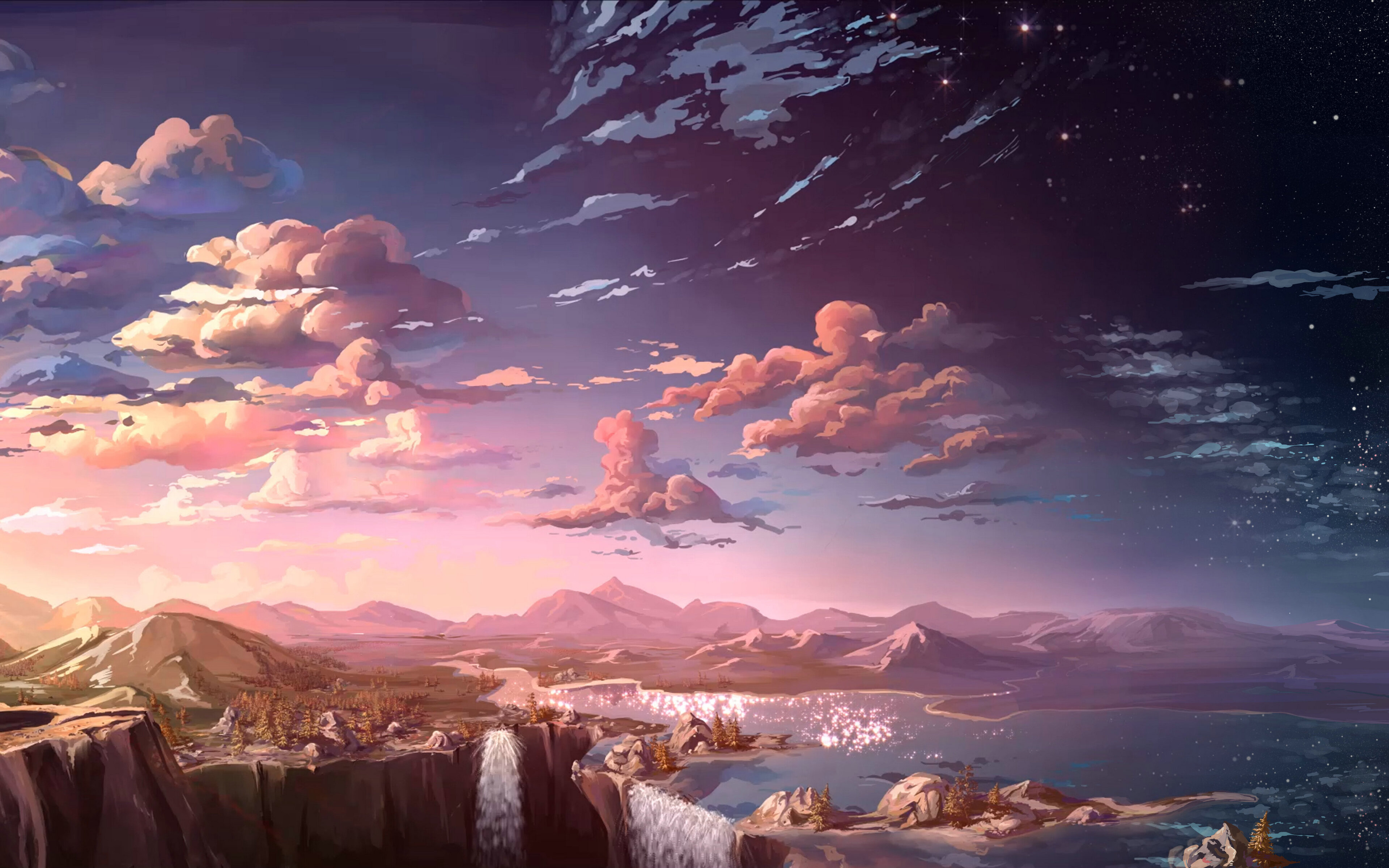 3840x2400 anime landscape waterfall cloud 5k 4k hd 4k - Anime background wallpaper 4k ...