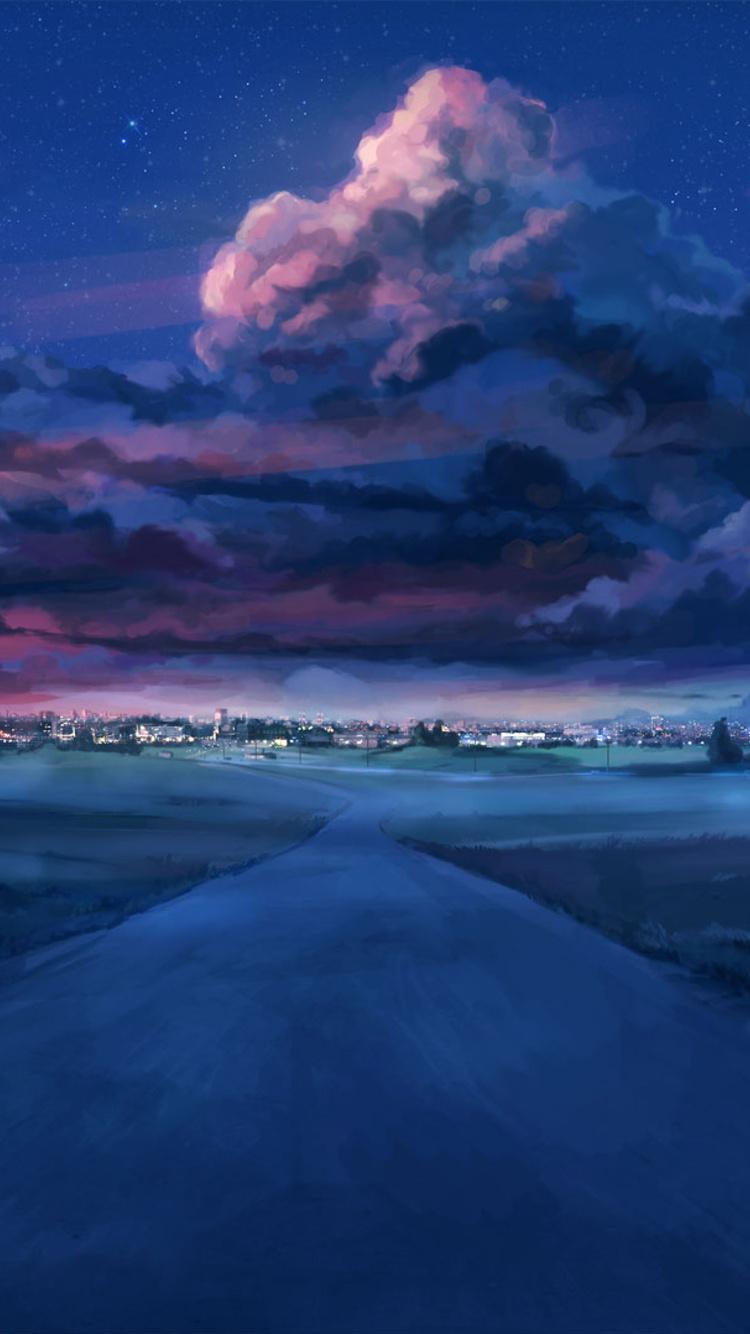 750x1334 Anime Night Scenery Iphone 6 Iphone 6s Iphone 7